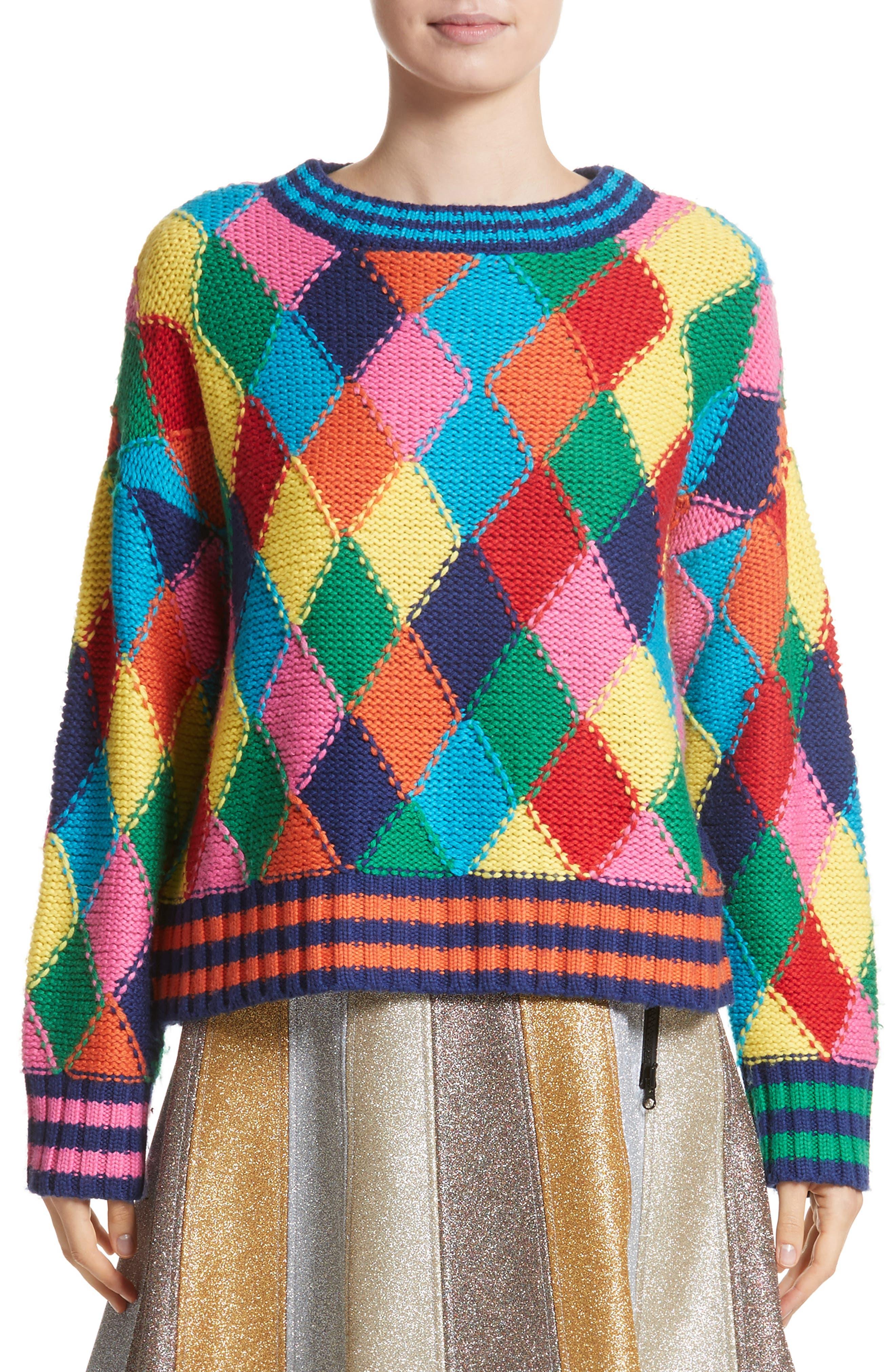 Diamond Stitch Sweater,                         Main,                         color, Multi