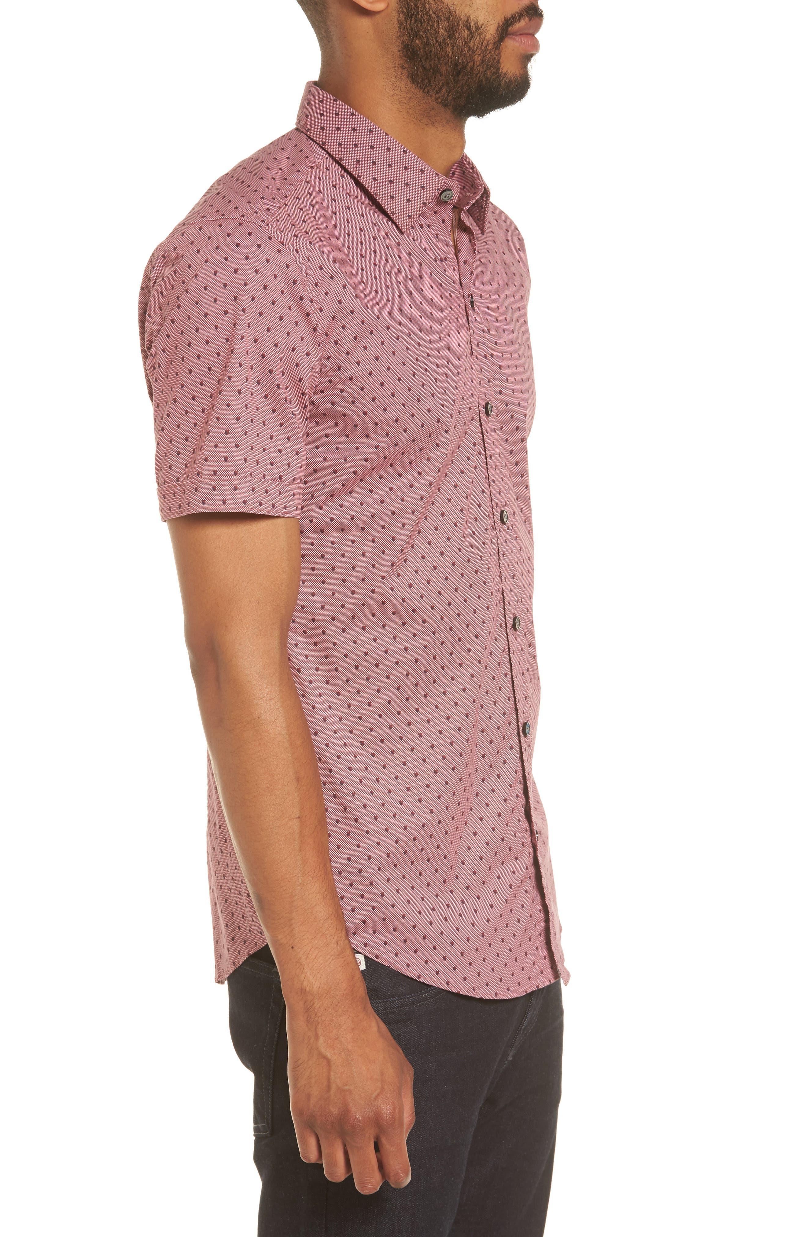 Robb Sharp Fit Print Sport Shirt,                             Alternate thumbnail 3, color,                             Red
