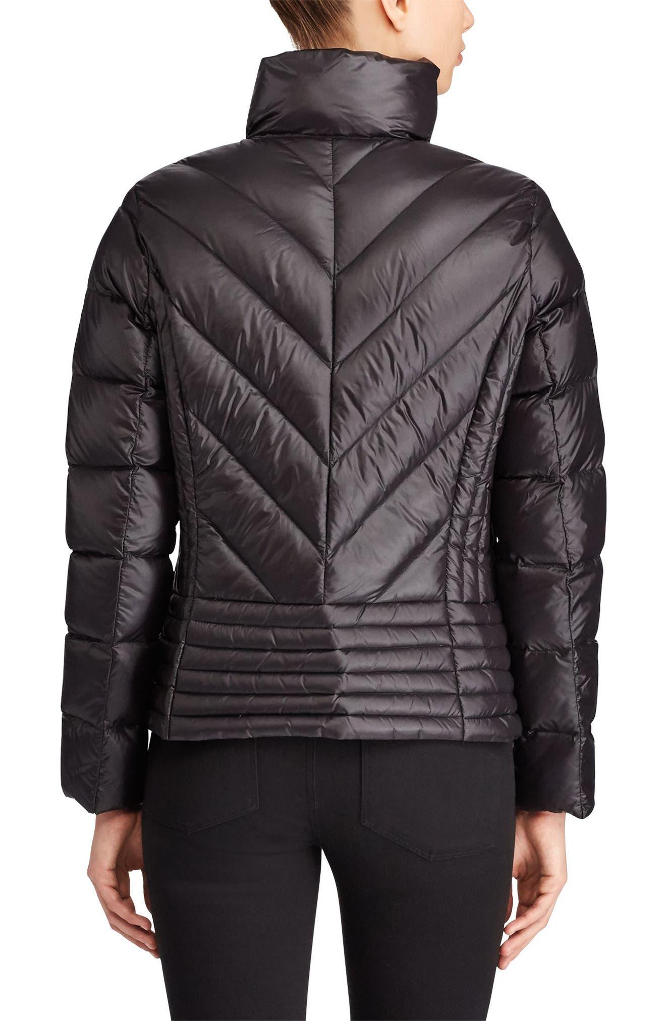 Short Down Coat,                             Alternate thumbnail 3, color,                             Black