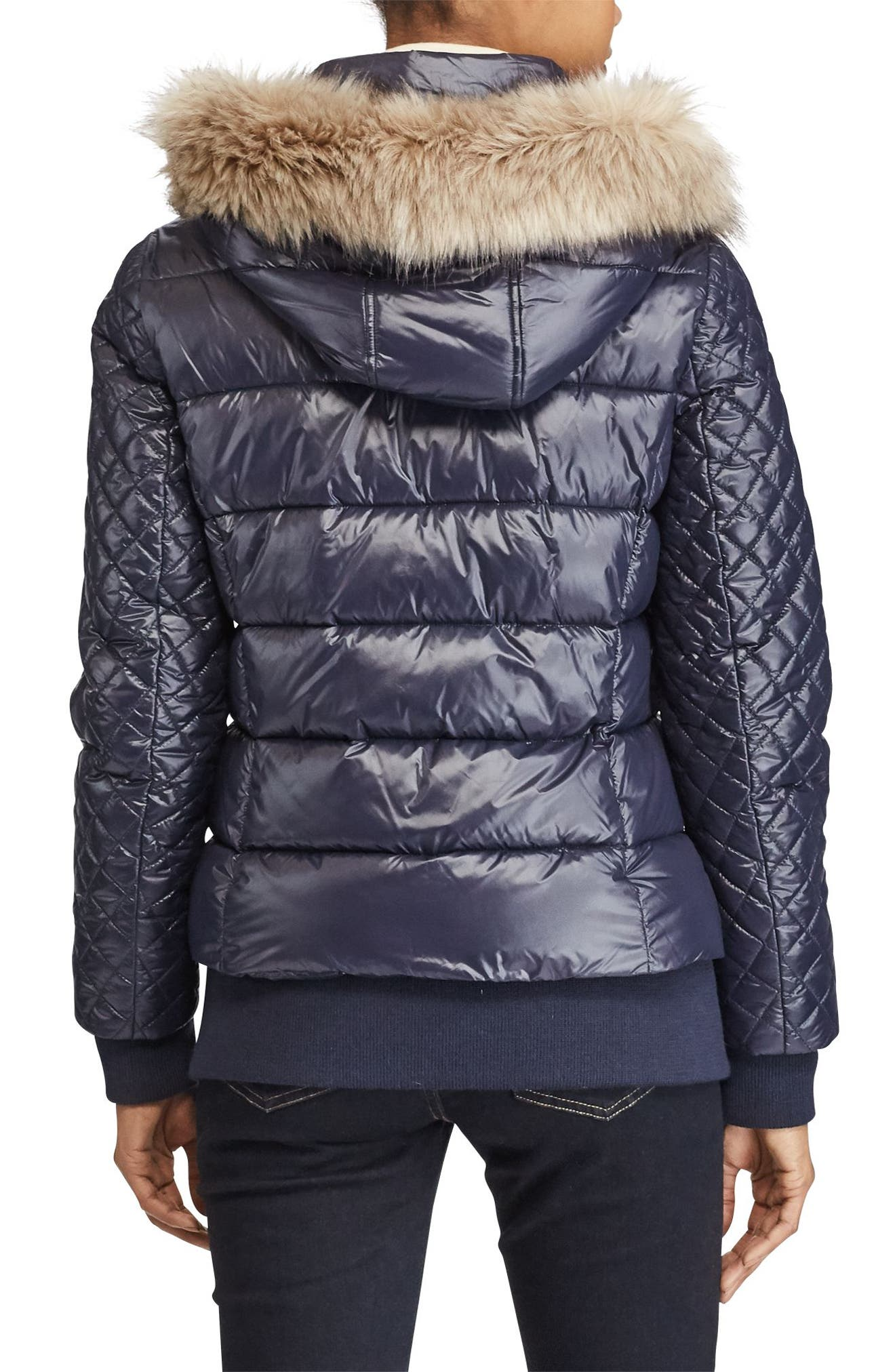 Quilted Jacket with Faux Fur Trim,                             Alternate thumbnail 3, color,                             Navy