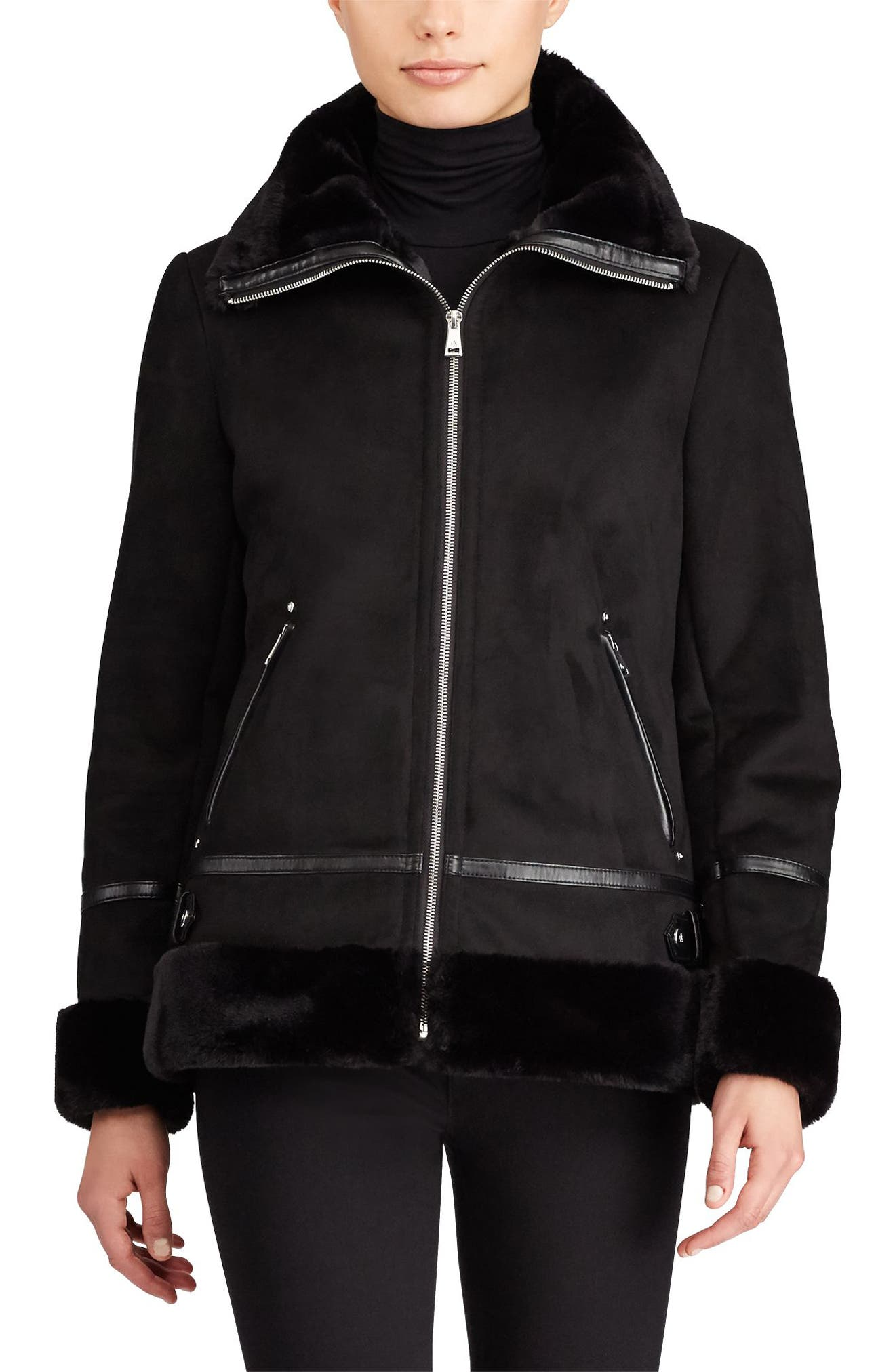 Faux Shearling Bomber Jacket,                         Main,                         color, Black