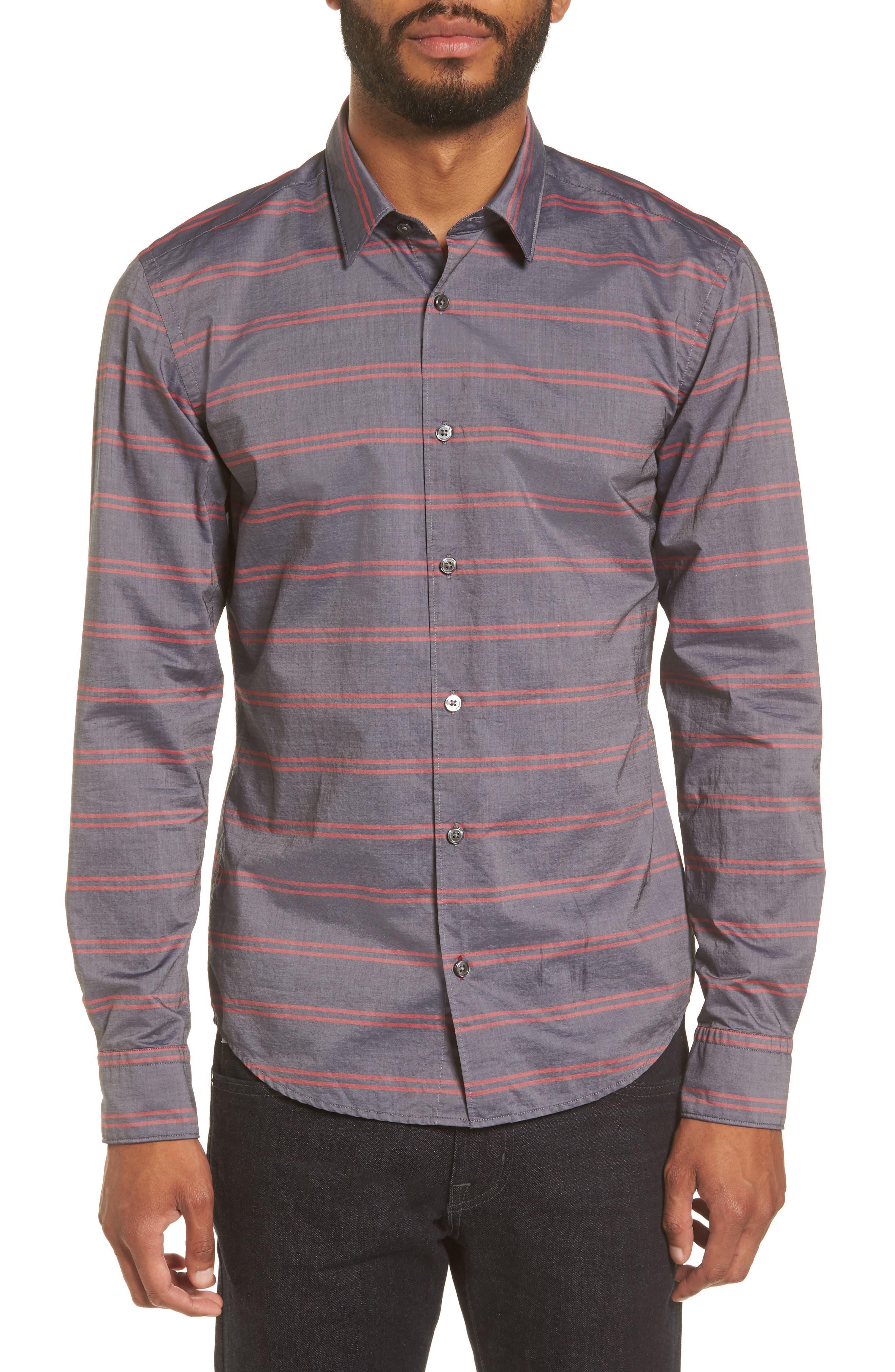 Reid Slim Fit Stripe Sport Shirt,                         Main,                         color, Navy