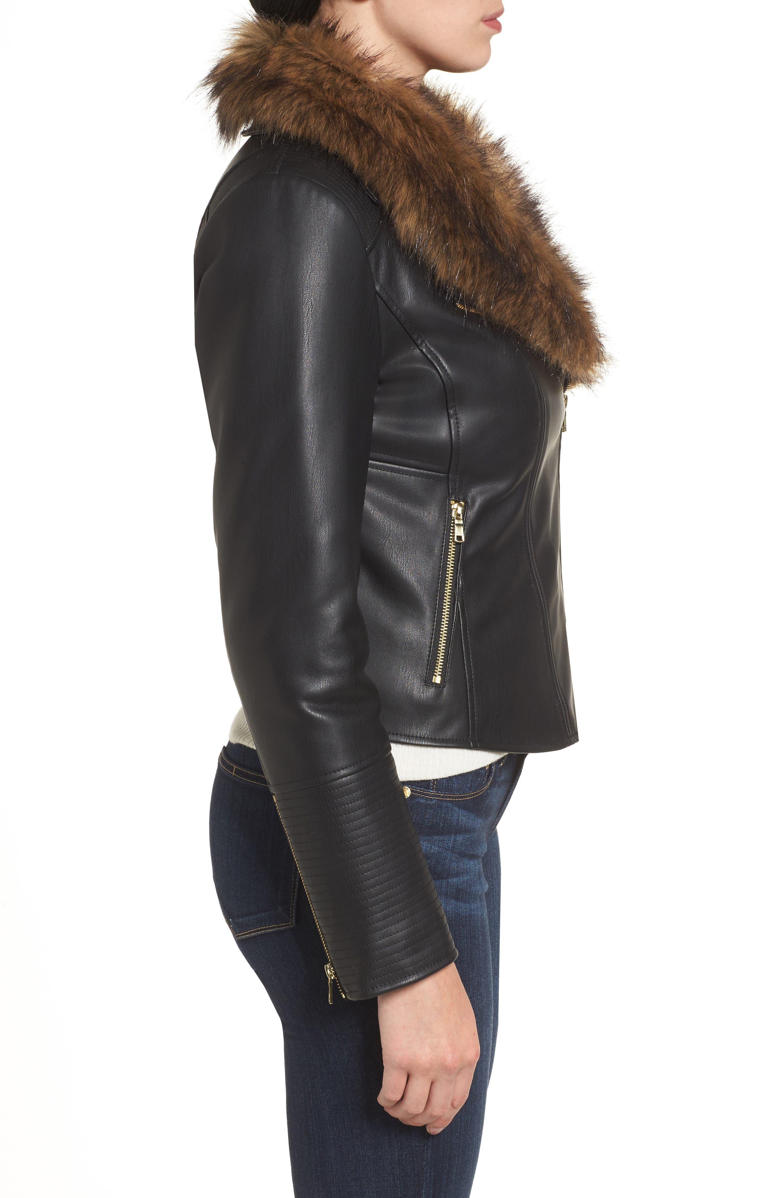 Alternate Image 3  - Cole Haan Signature Faux Leather Jacket with Detachable Faux Fur
