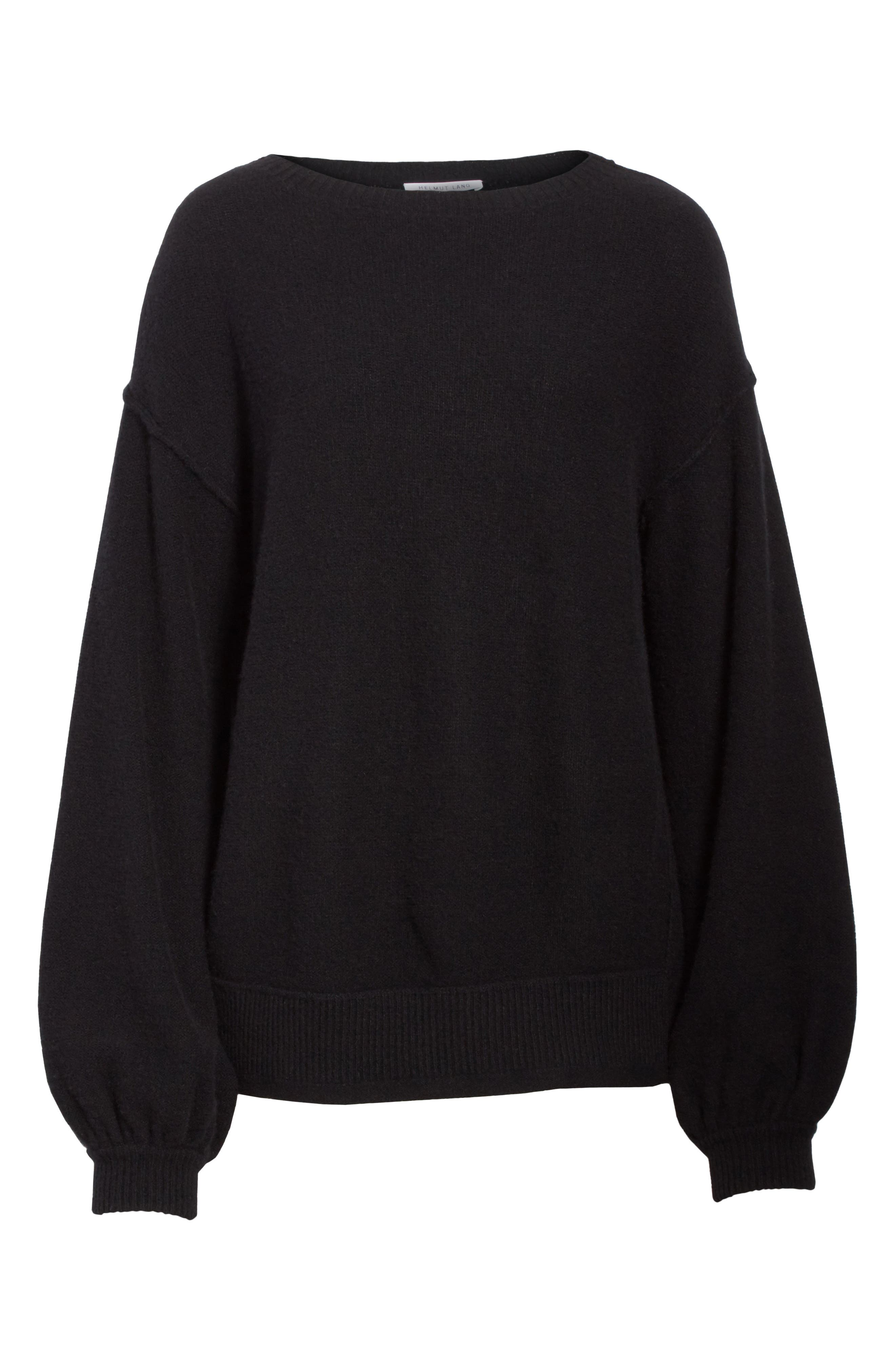 Balloon Sleeve Wool & Cashmere Sweater,                             Alternate thumbnail 7, color,                             Black