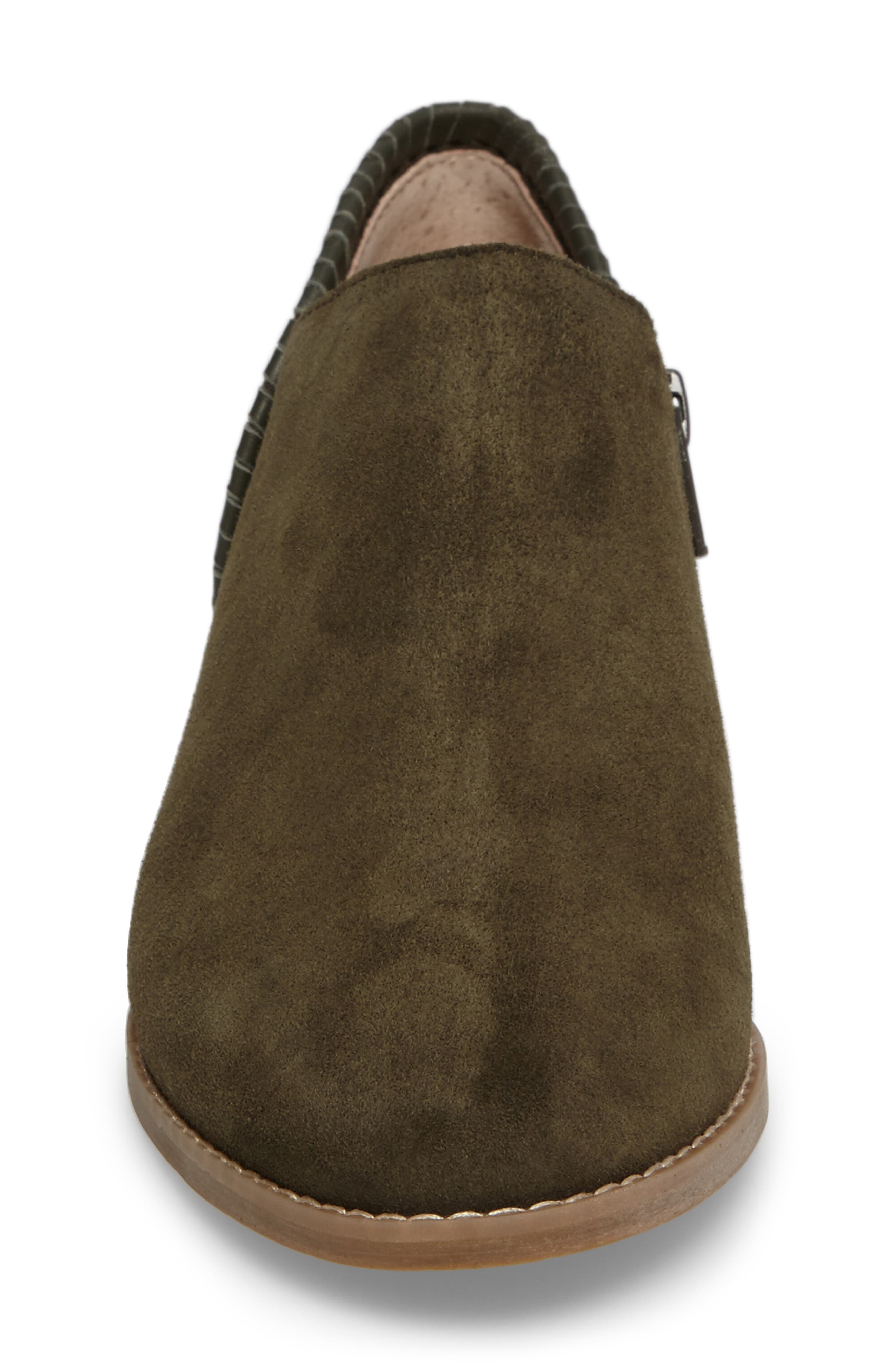 Avery Low Bootie,                             Alternate thumbnail 4, color,                             Olive Suede