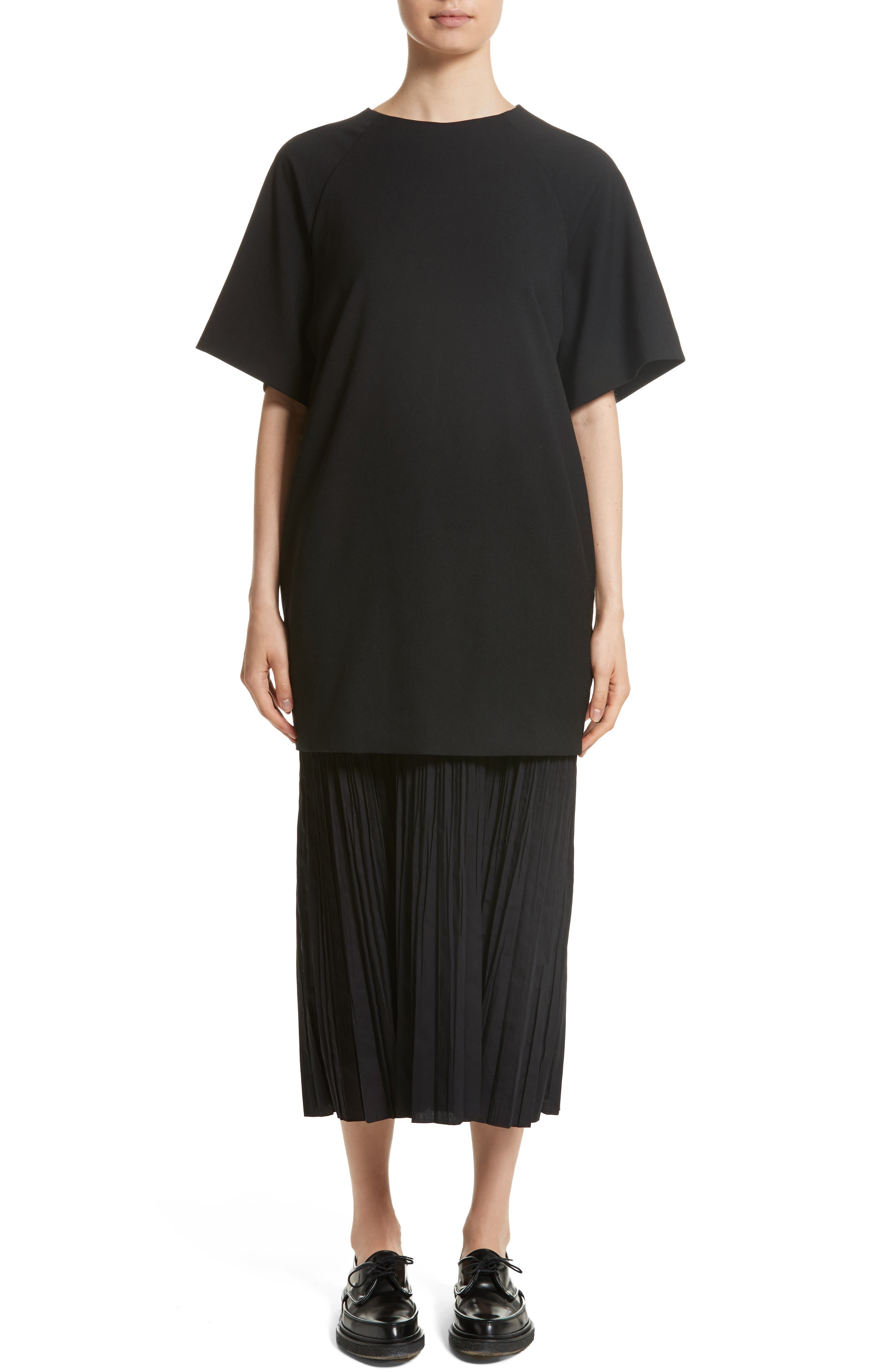 K Bottom Pleated Dress,                             Main thumbnail 1, color,                             Black