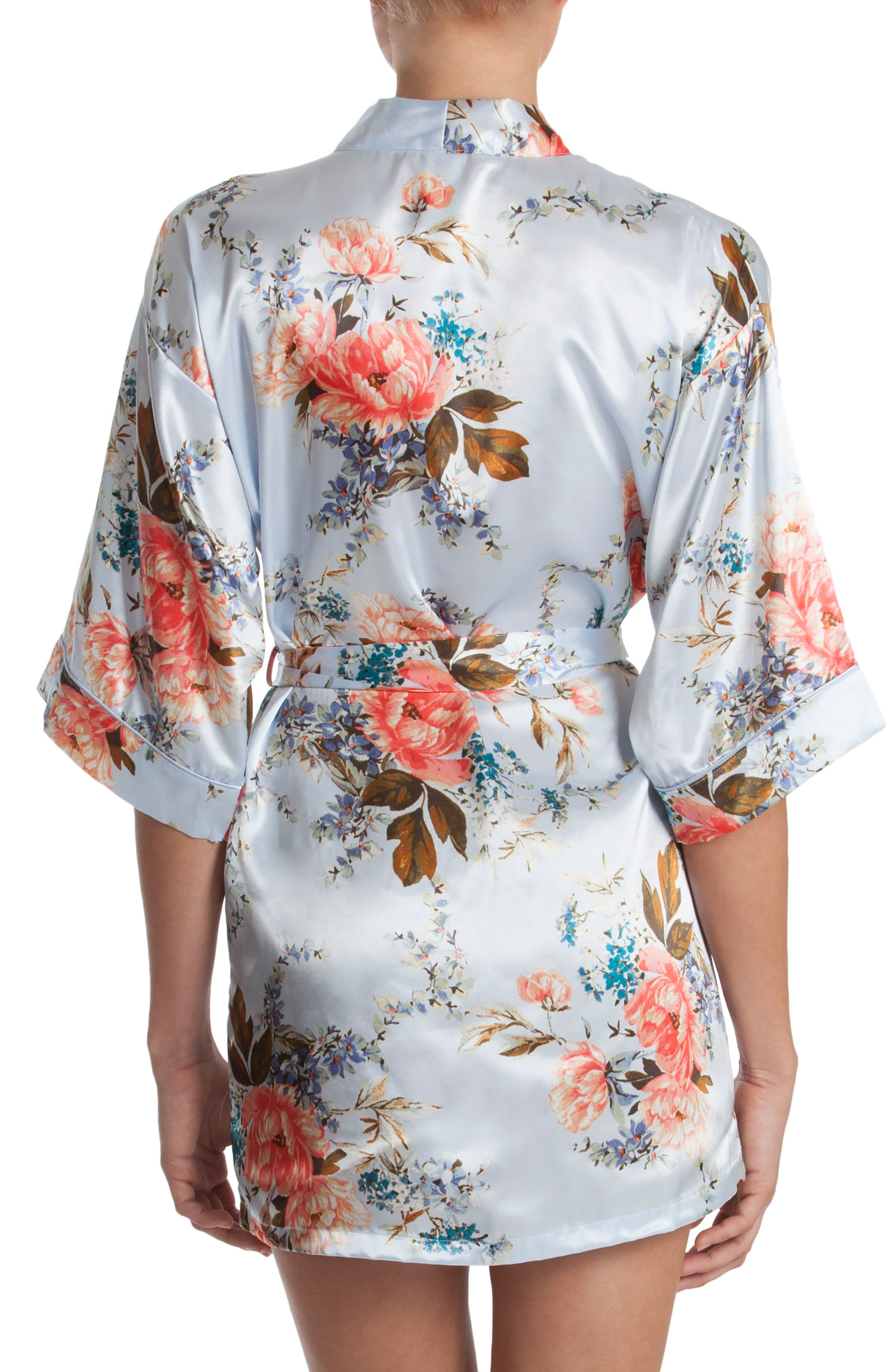 Alternate Image 2  - In Bloom by Jonquil Floral Print Satin Robe