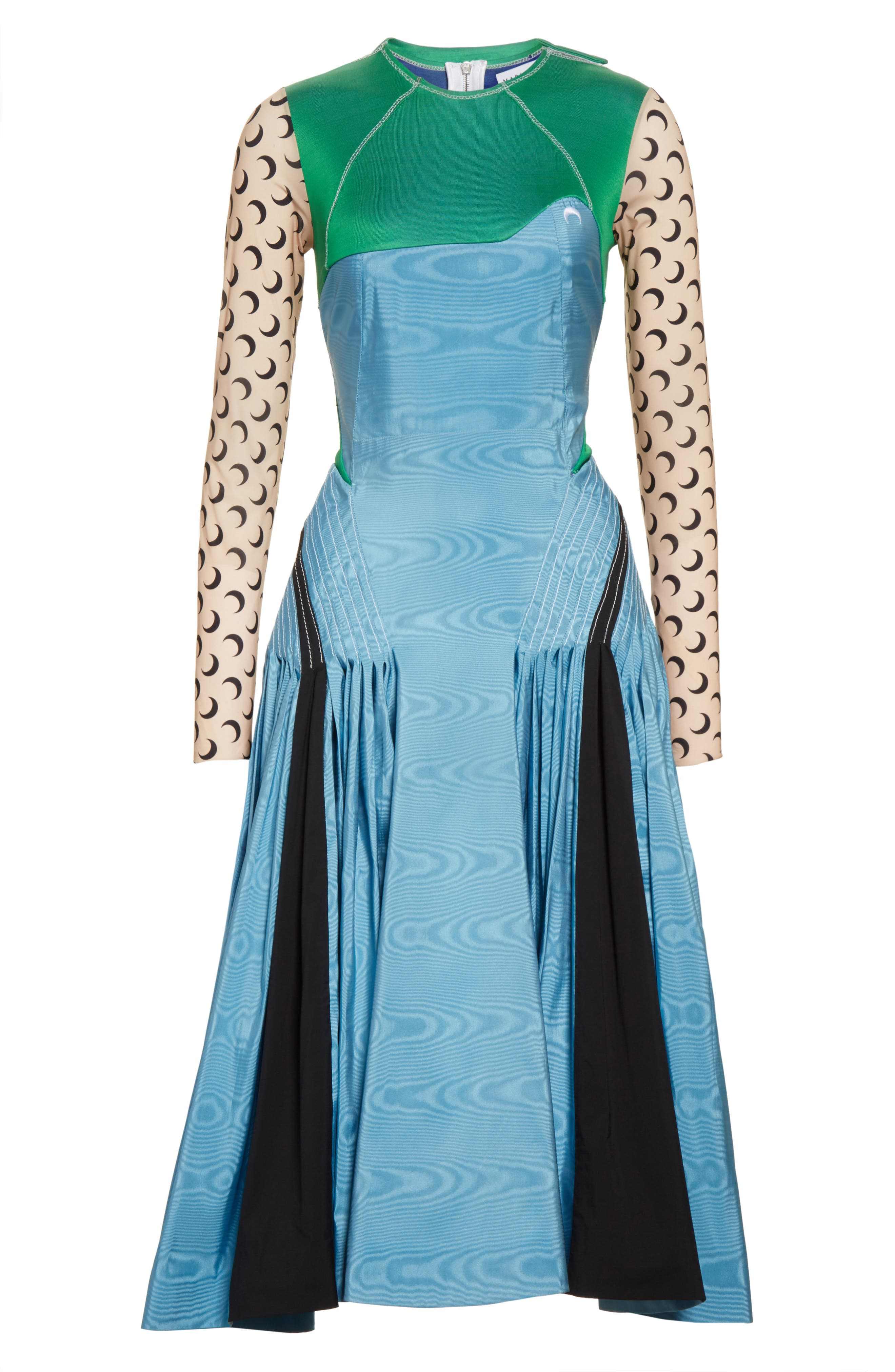 Pleated Moiré Dress,                             Alternate thumbnail 8, color,                             Blue Green Black