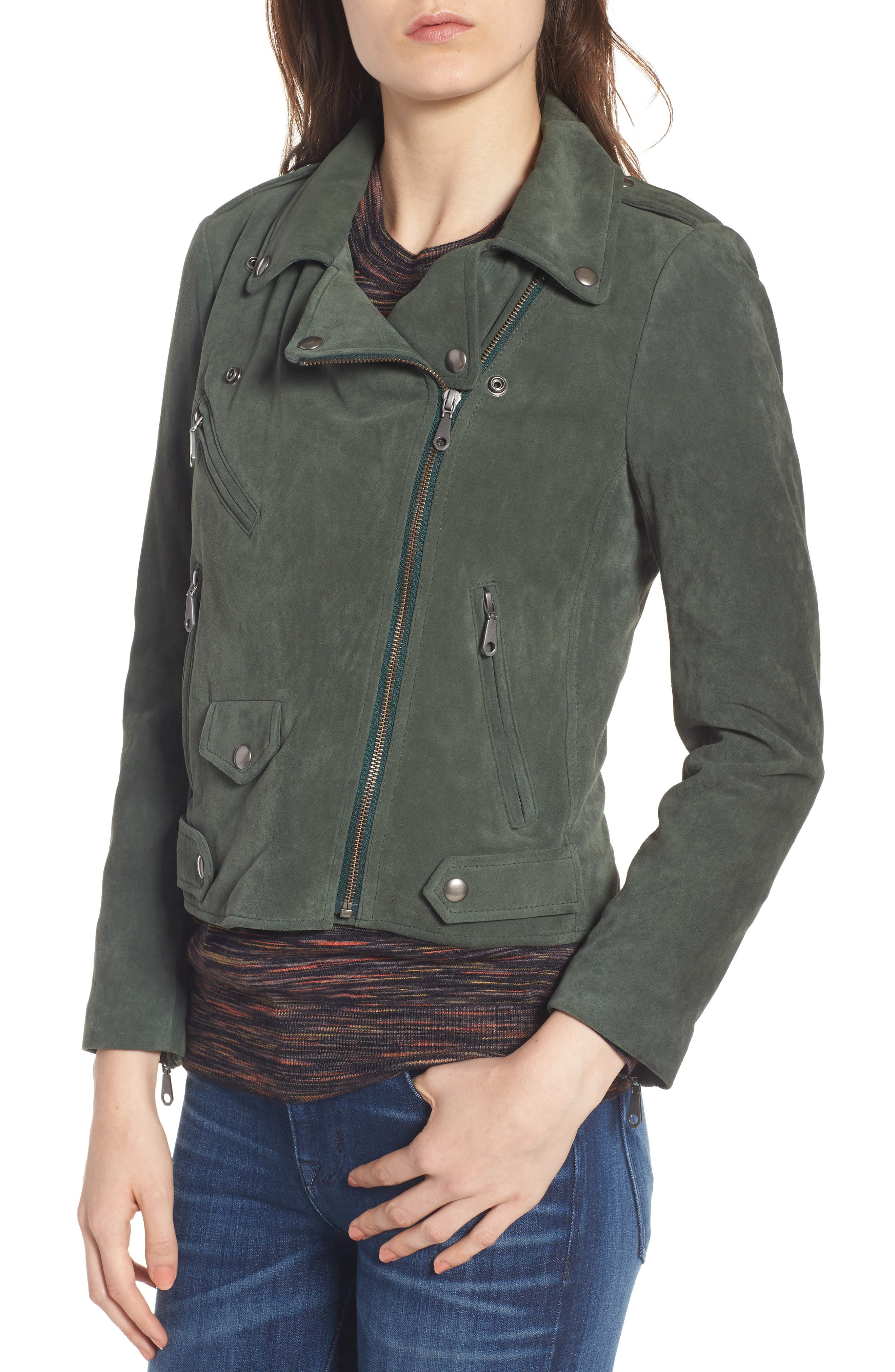 Wes Suede Moto Jacket,                             Alternate thumbnail 4, color,                             Dark Green
