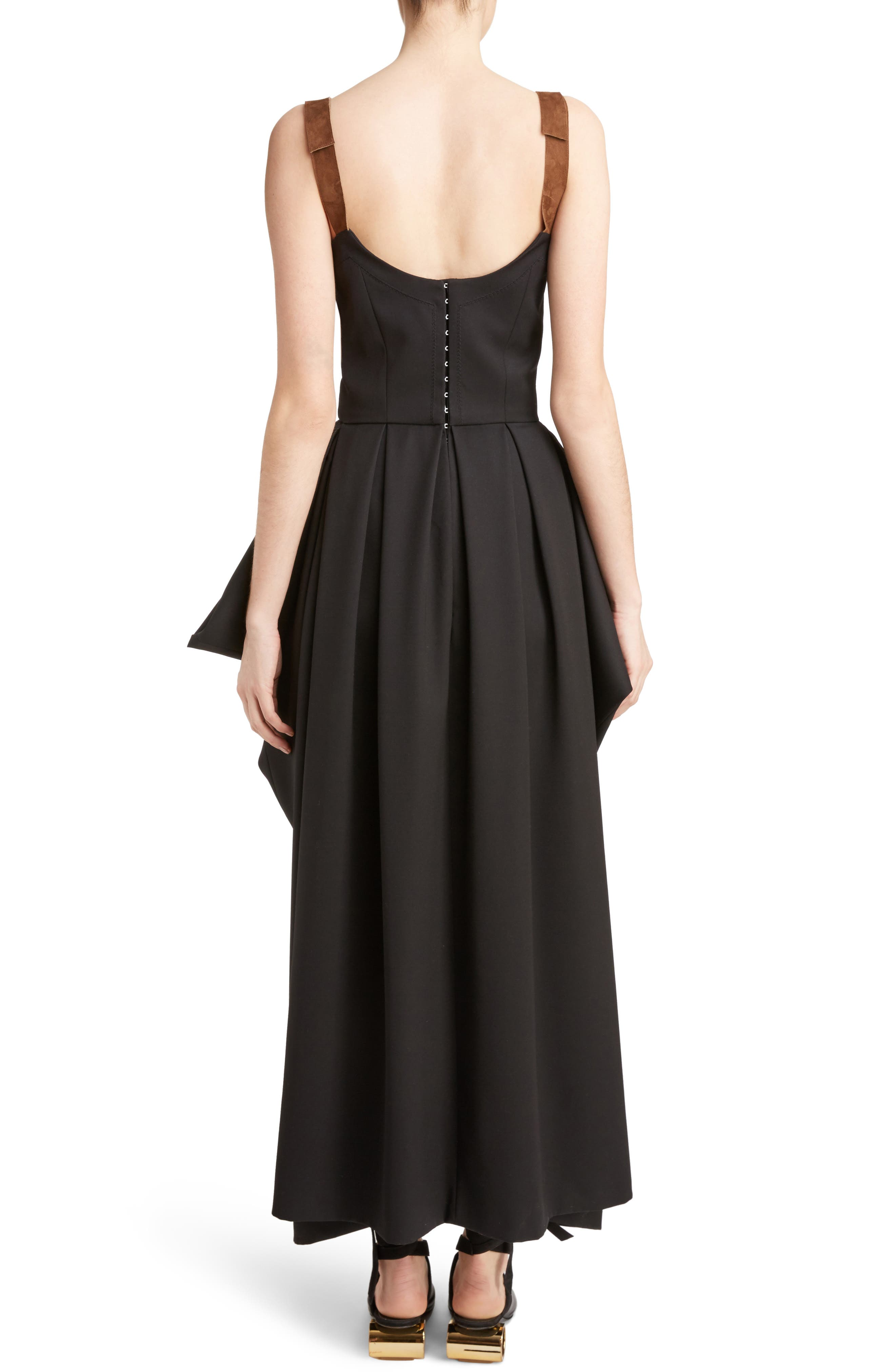 J.W.ANDERSON Drape Pocket Wool Dress,                             Alternate thumbnail 3, color,                             Black