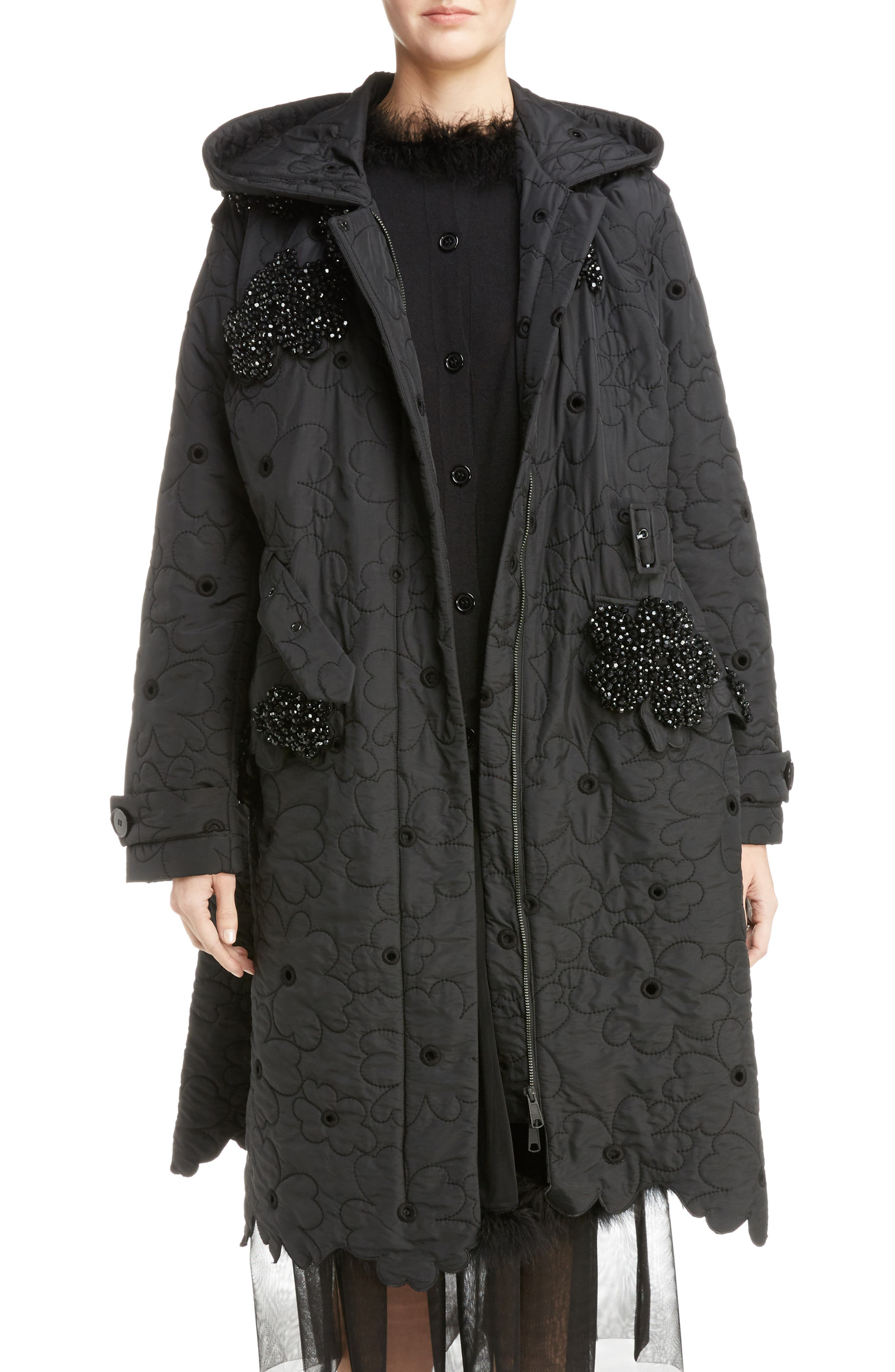 Beaded Floral Quilted Parka,                             Main thumbnail 1, color,                             Black