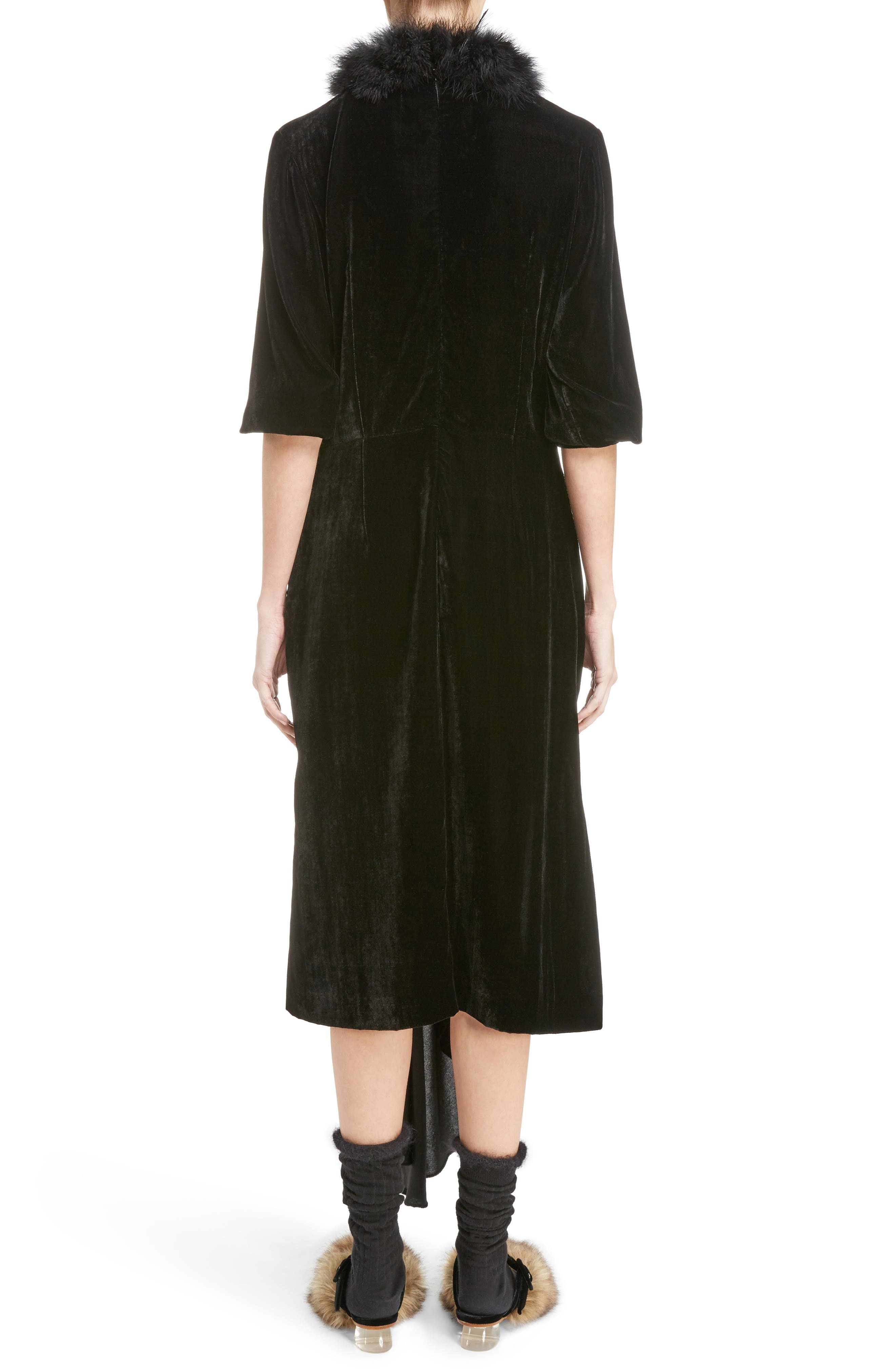 Asymmetrical Velvet Dress with Marabou Trim,                             Alternate thumbnail 2, color,                             Black