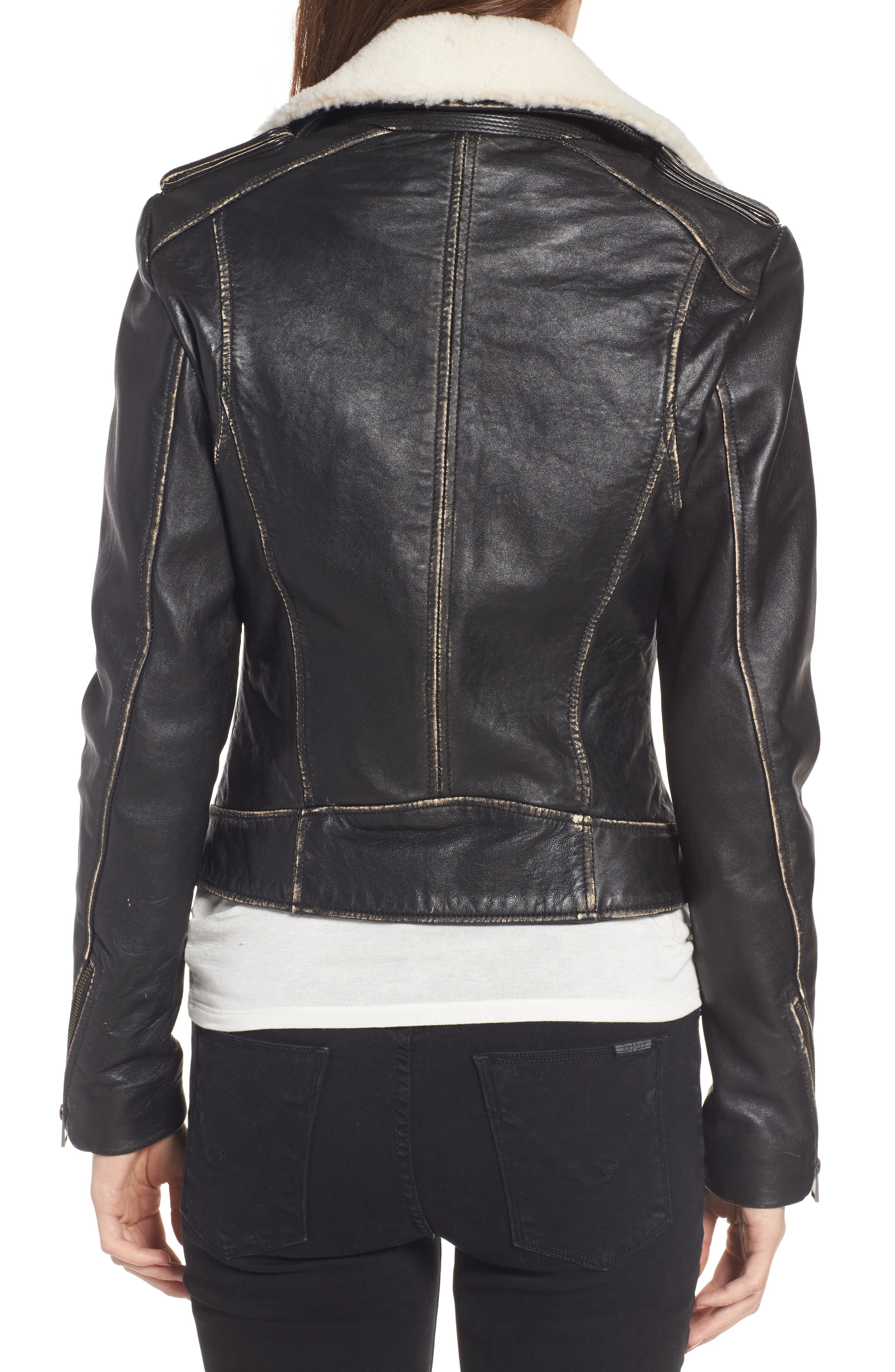 Moto Jacket with Detachable Genuine Shearling,                             Alternate thumbnail 2, color,                             Black
