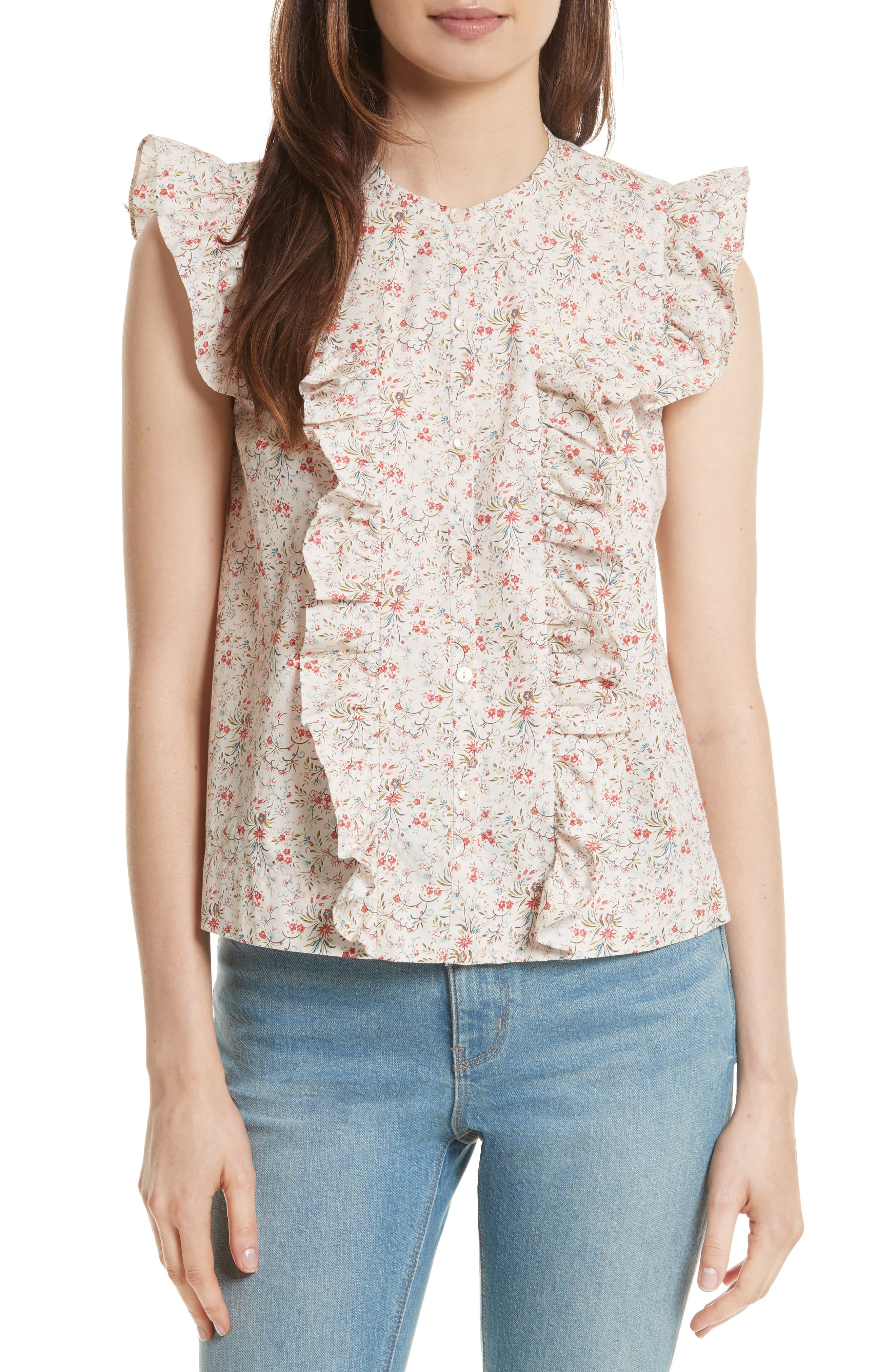Brittany Sleeveless Floral Blouse,                         Main,                         color, Cream Combo