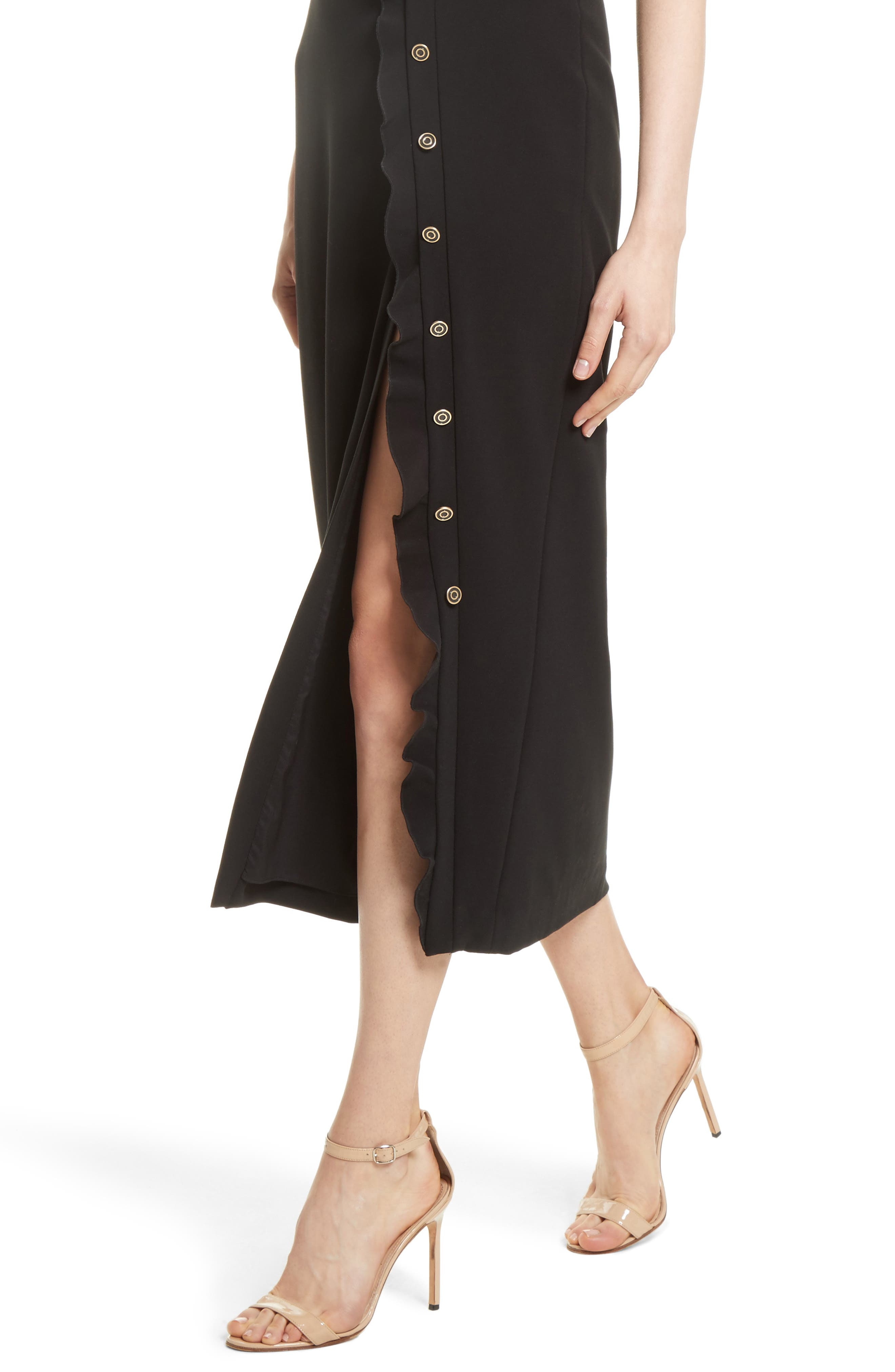 Ruffle Button Midi Dress,                             Alternate thumbnail 4, color,                             Black