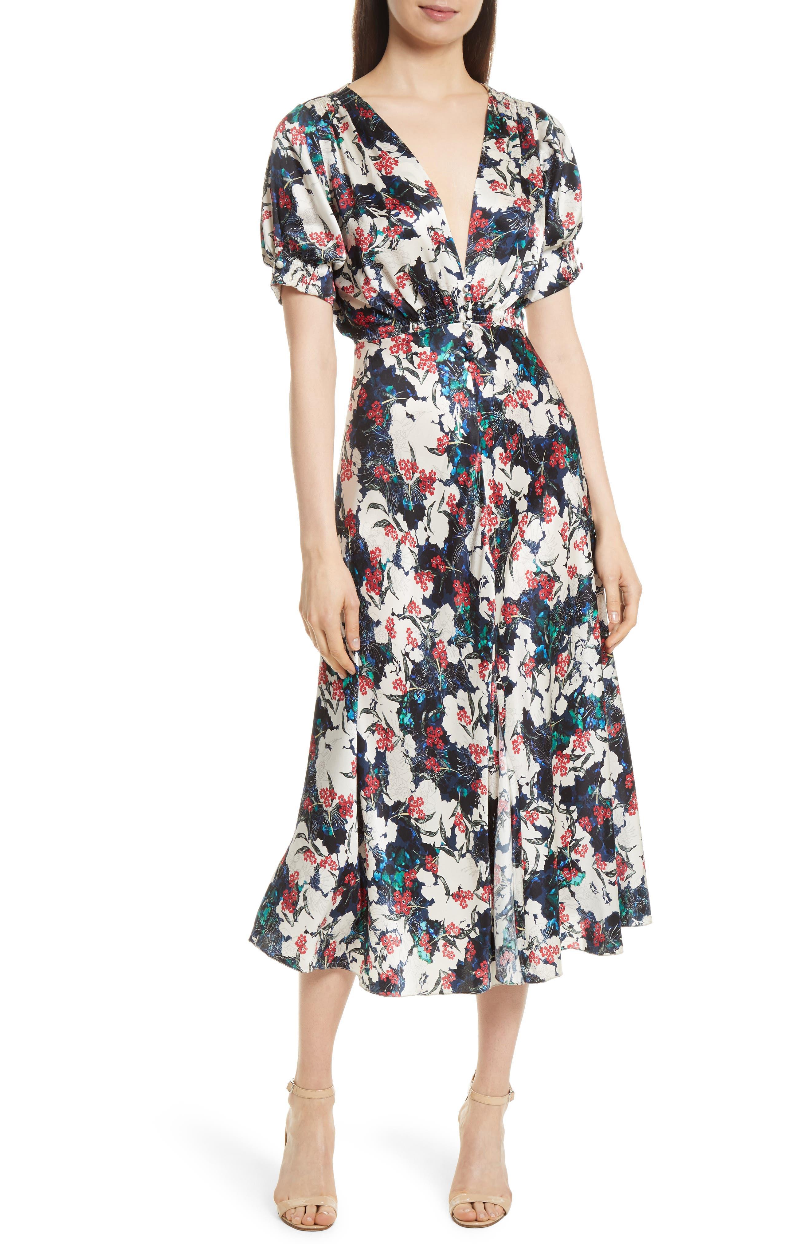 Lea Silk Midi Dress,                         Main,                         color, Floella