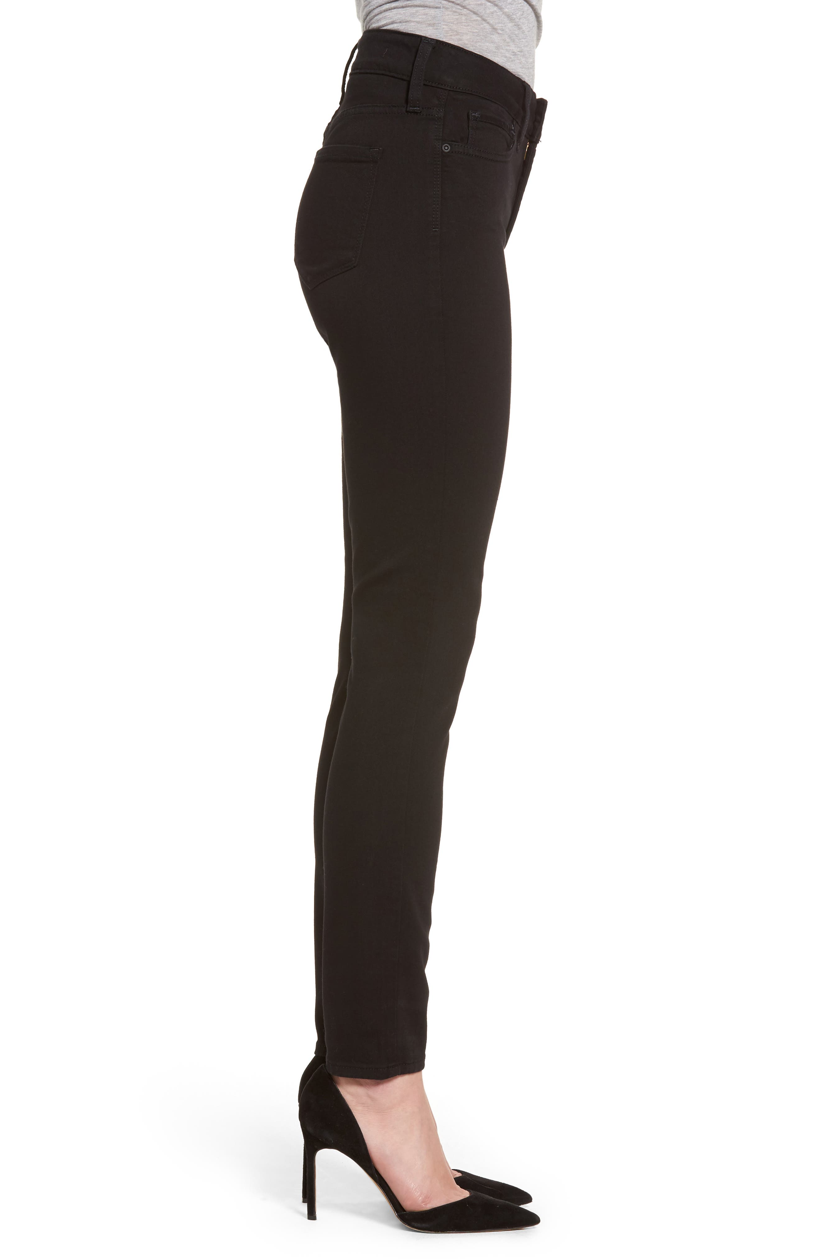 Ami Stretch Skinny Jeans,                             Alternate thumbnail 3, color,                             Black