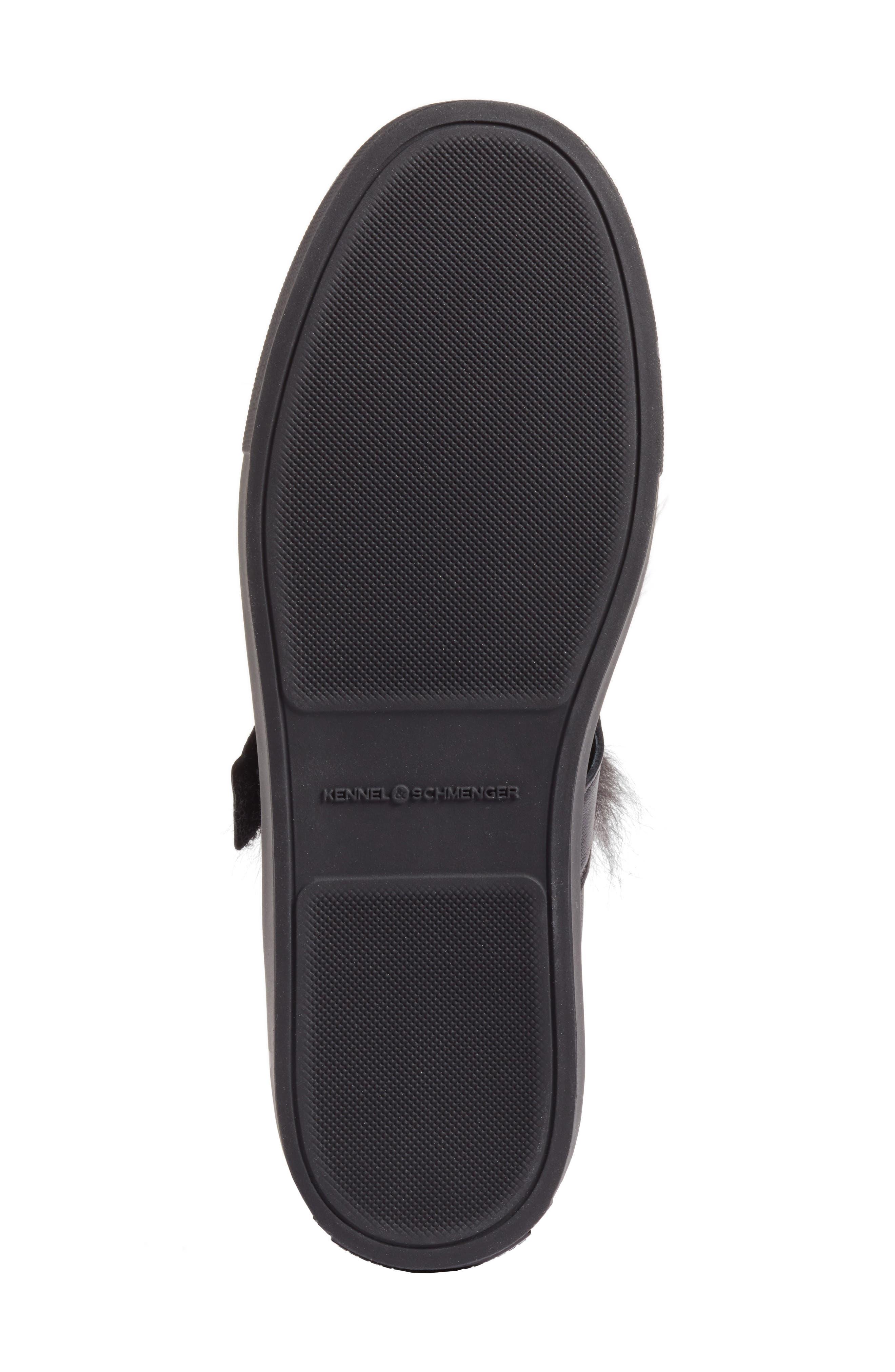 Kennel & Schmenger Basket Slip-On Sneaker with Genuine Shearling Trim,                             Alternate thumbnail 6, color,                             Black