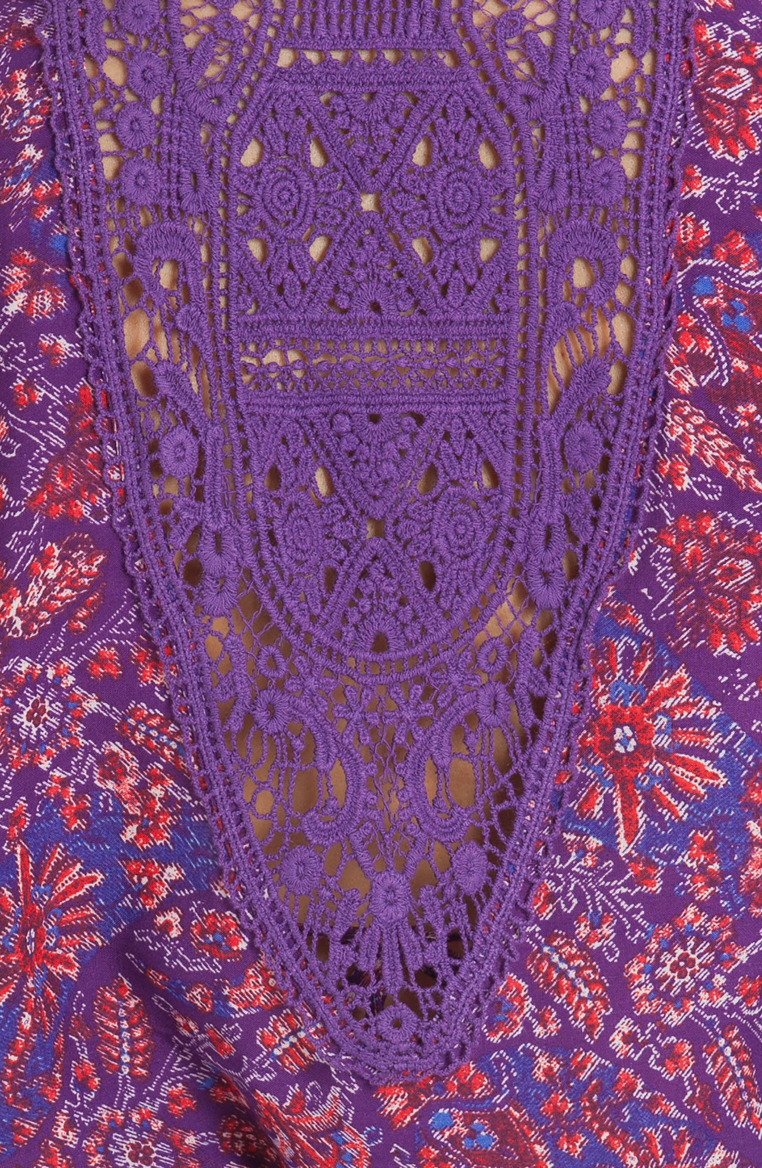 Short Wrap,                             Alternate thumbnail 4, color,                             Aubergine/ Turq Print