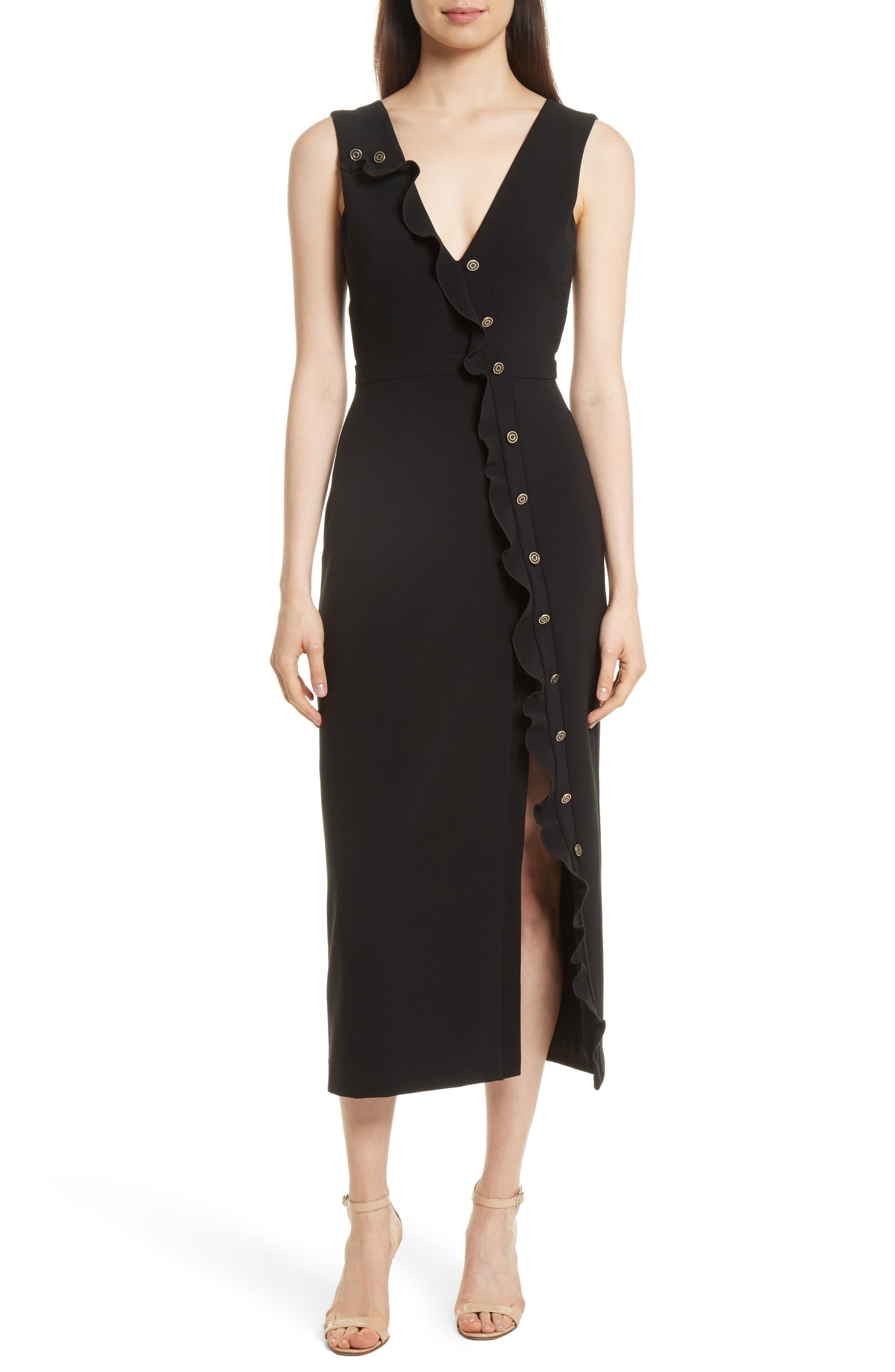 Ruffle Button Midi Dress,                             Main thumbnail 1, color,                             Black