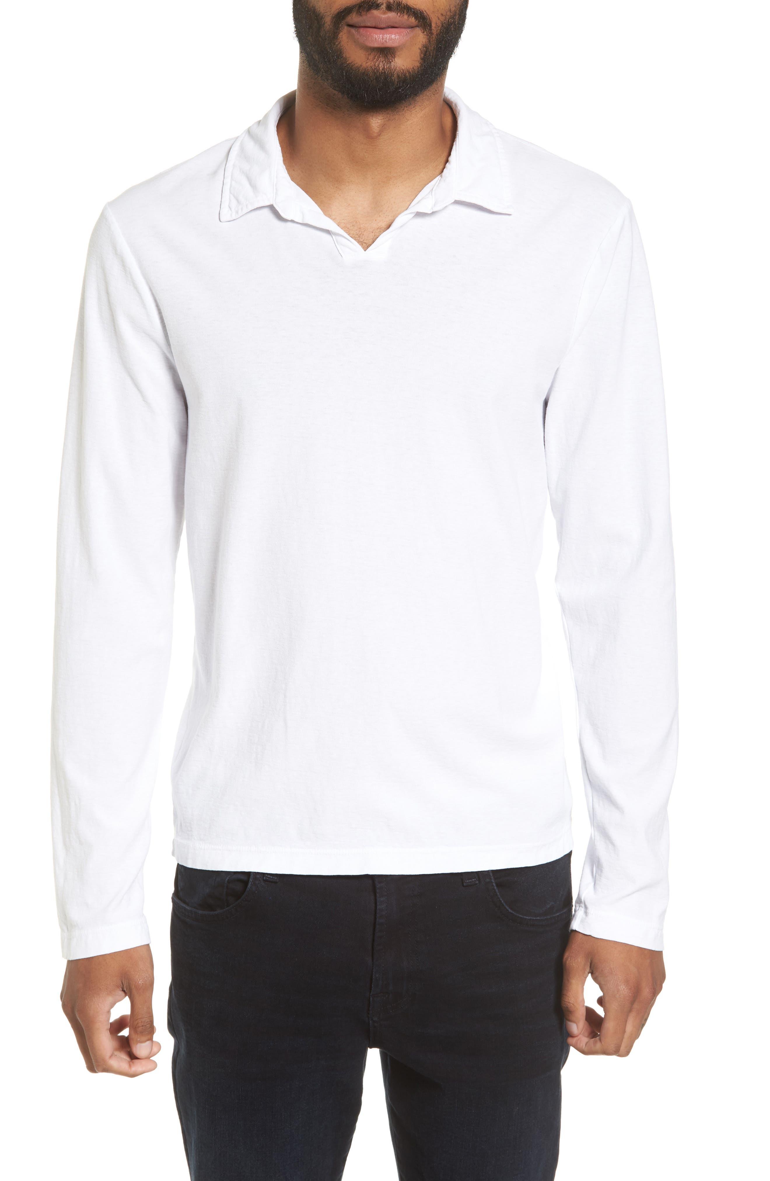 Long Sleeve Cotton Polo,                         Main,                         color, White
