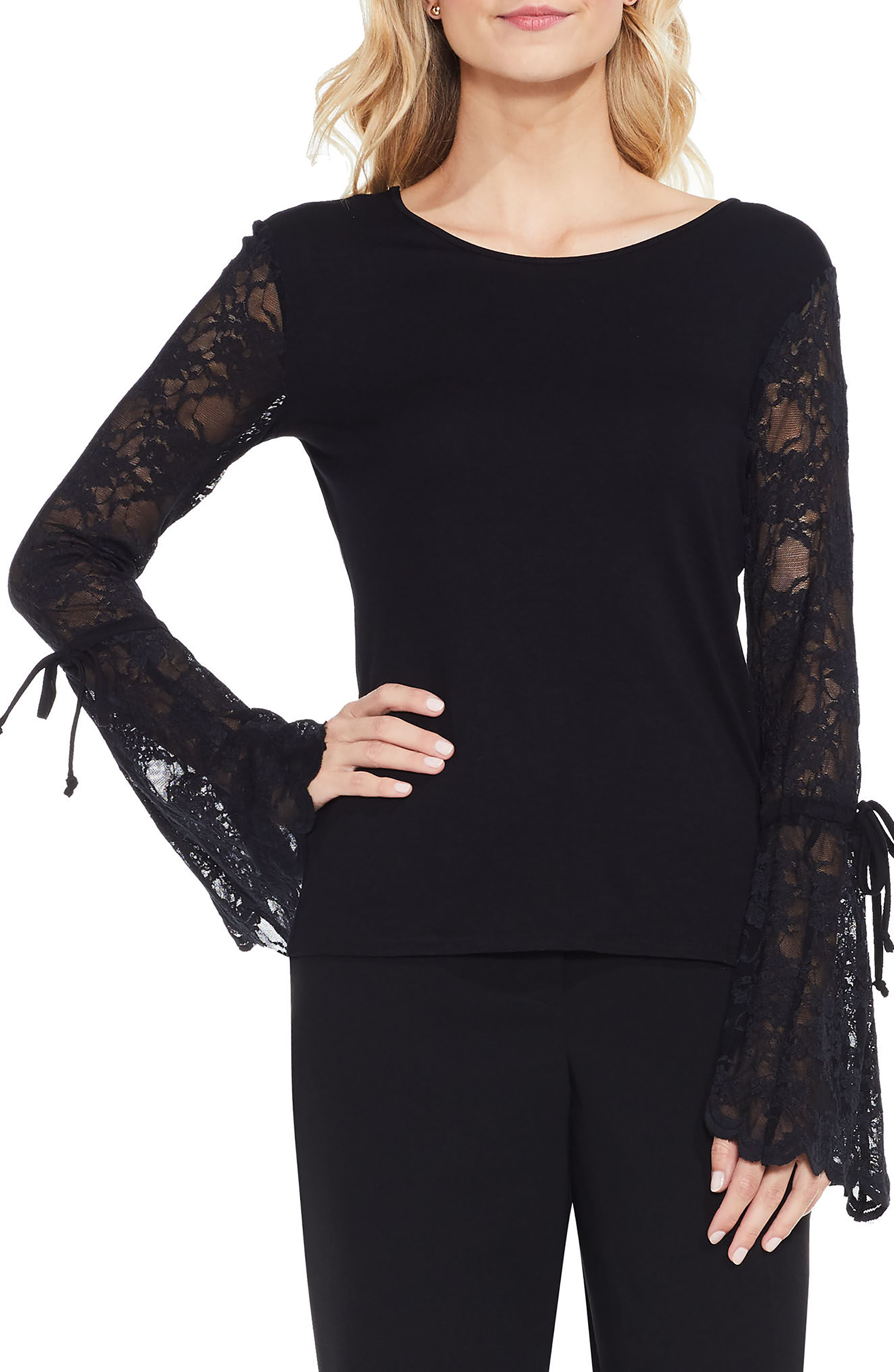 VINCE CAMUTO Lace Bell Sleeve Top