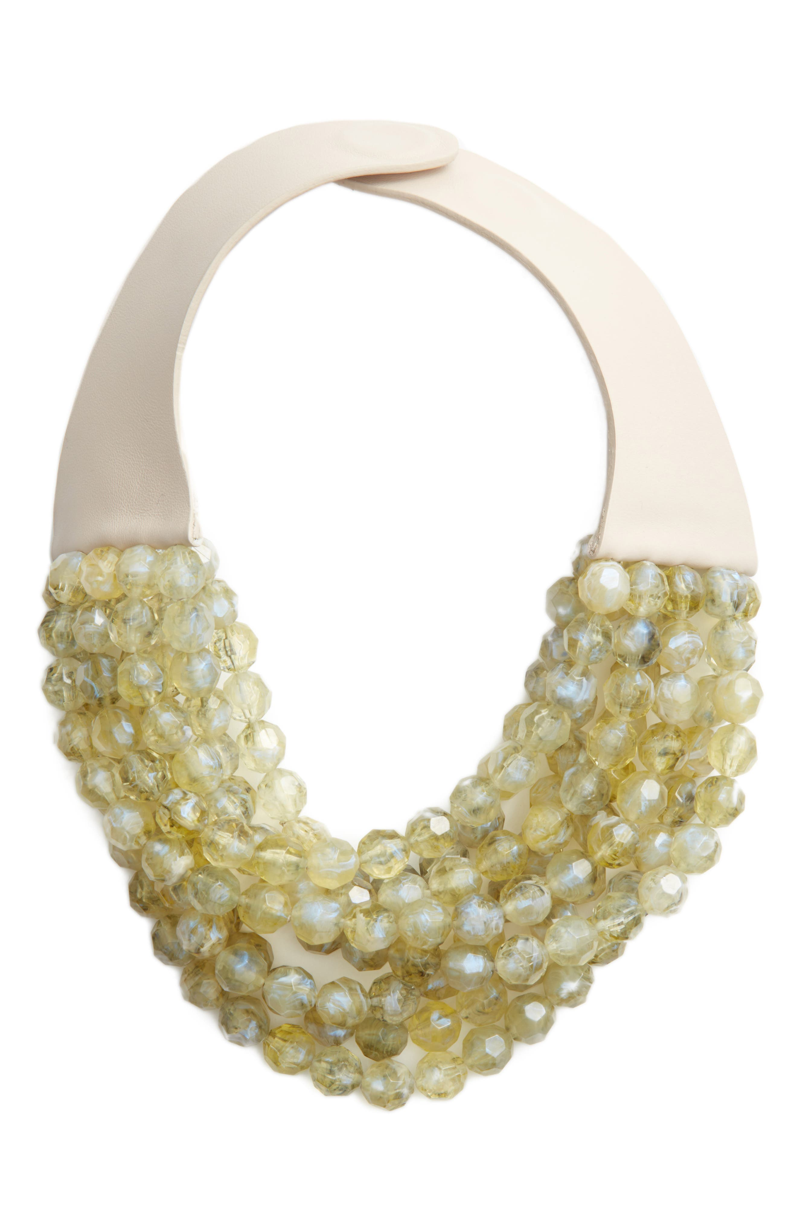 Bella Beaded Collar Necklace,                         Main,                         color, Iridescent Citrine