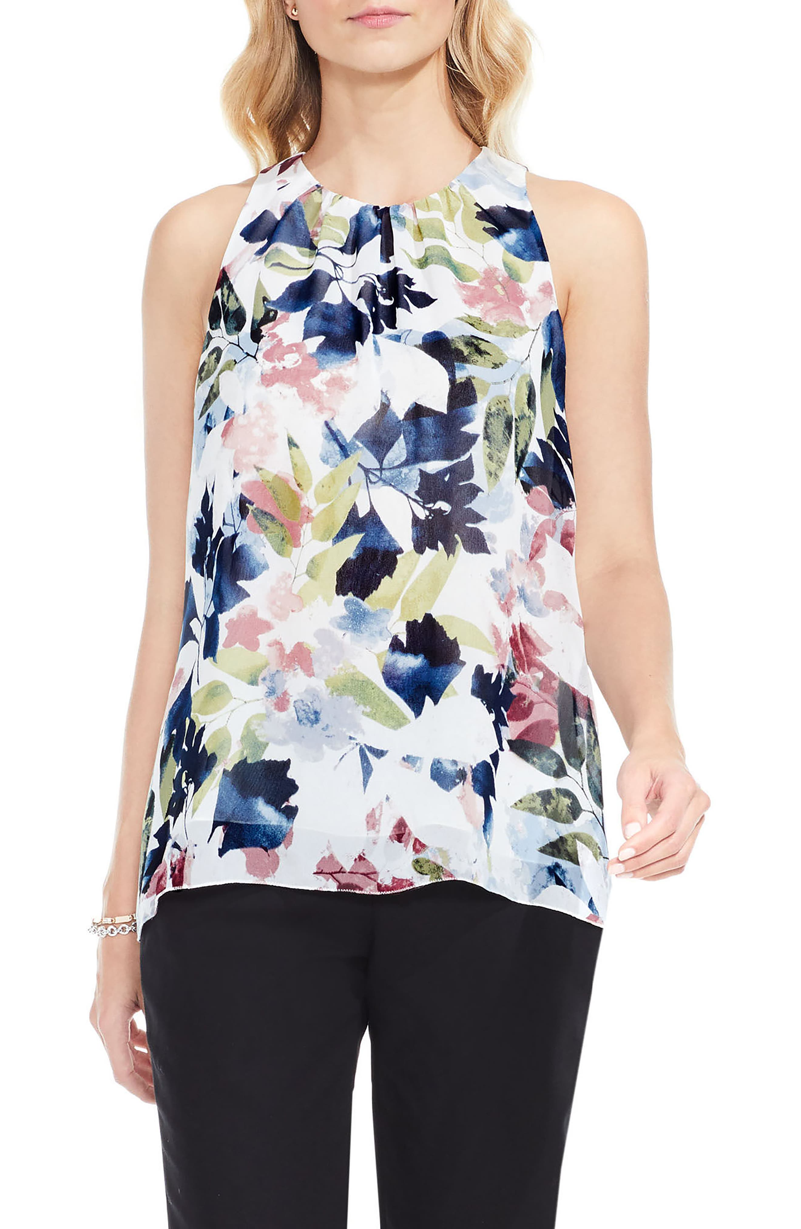 Garden Expressions Sleeveless Crepe Blouse,                         Main,                         color, Pearl Ivory
