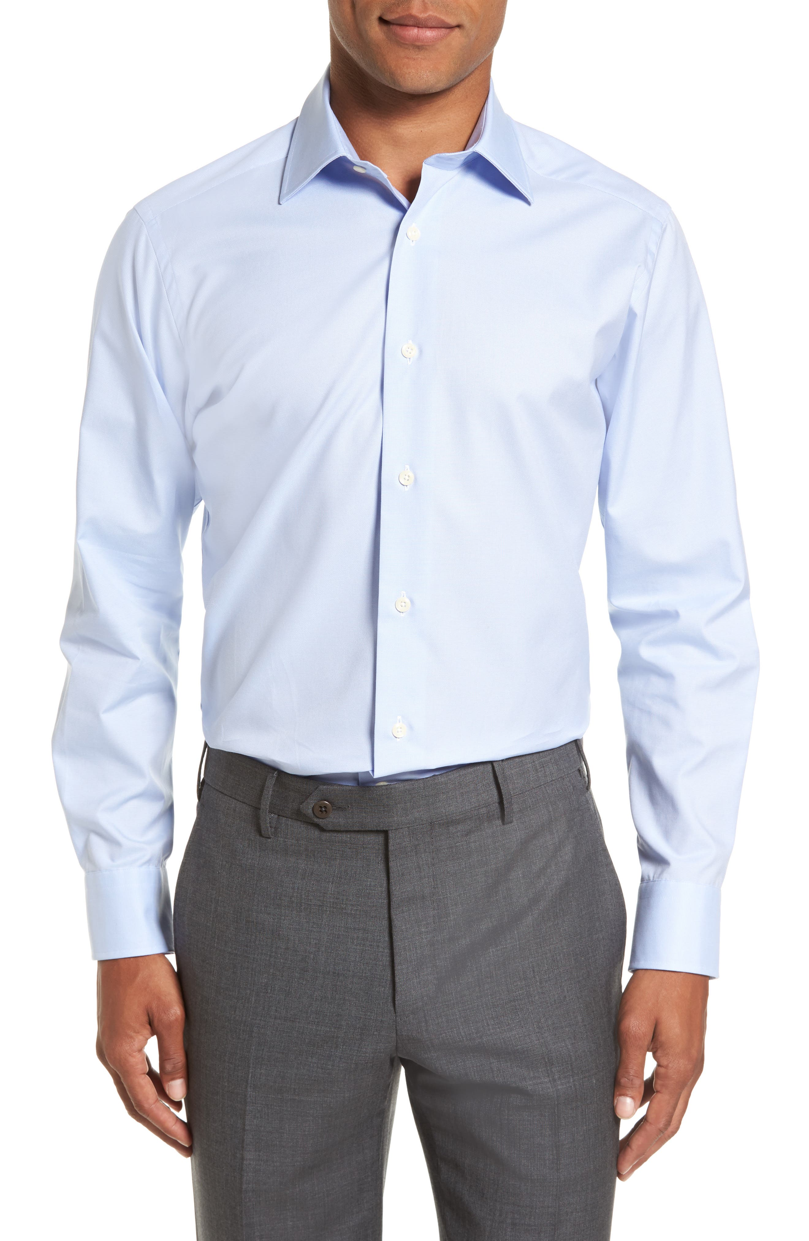 Slim Fit Solid Dress Shirt,                         Main,                         color, Sky
