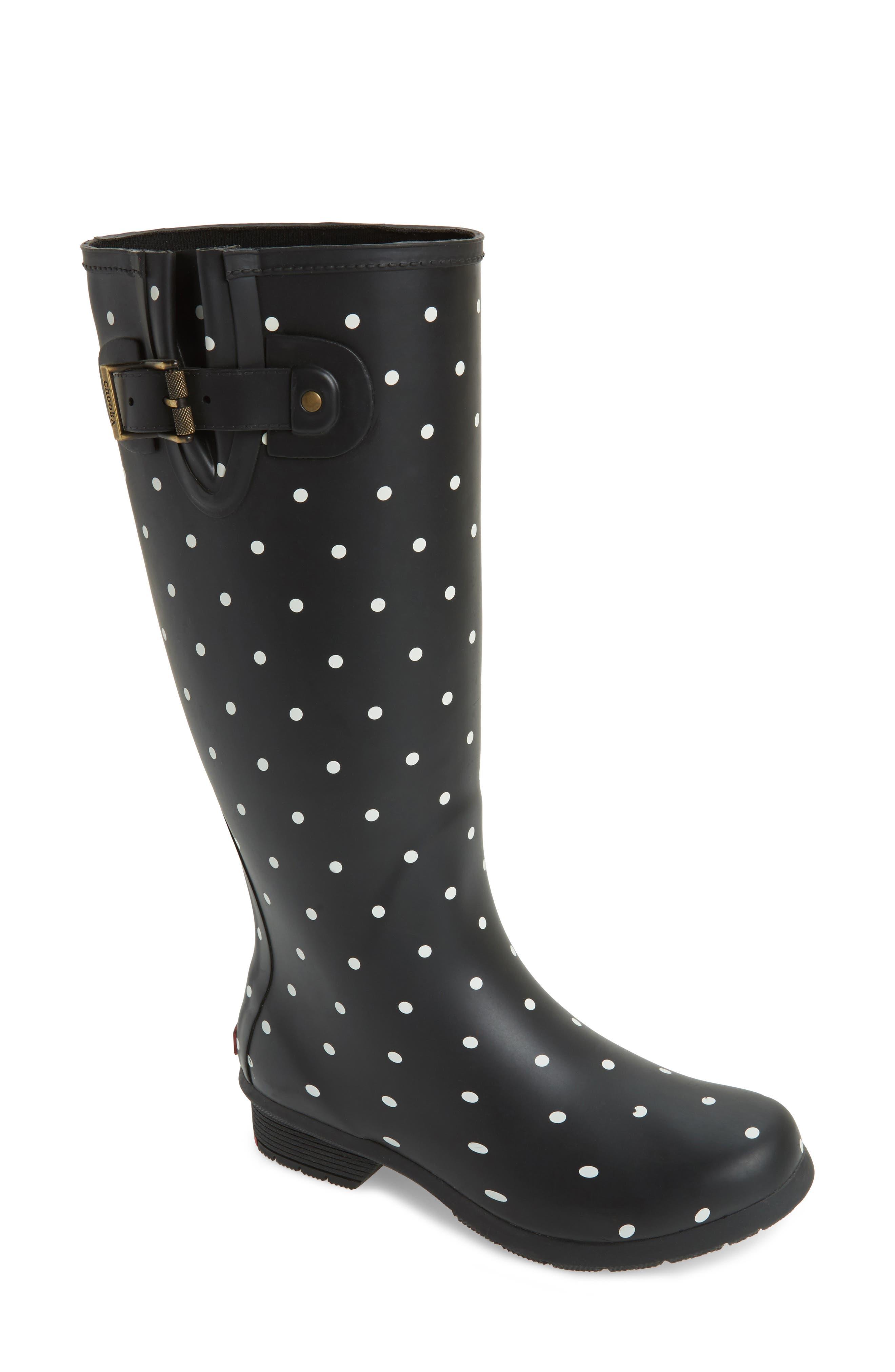 Classic Dot Rain Boot,                             Main thumbnail 1, color,                             Black