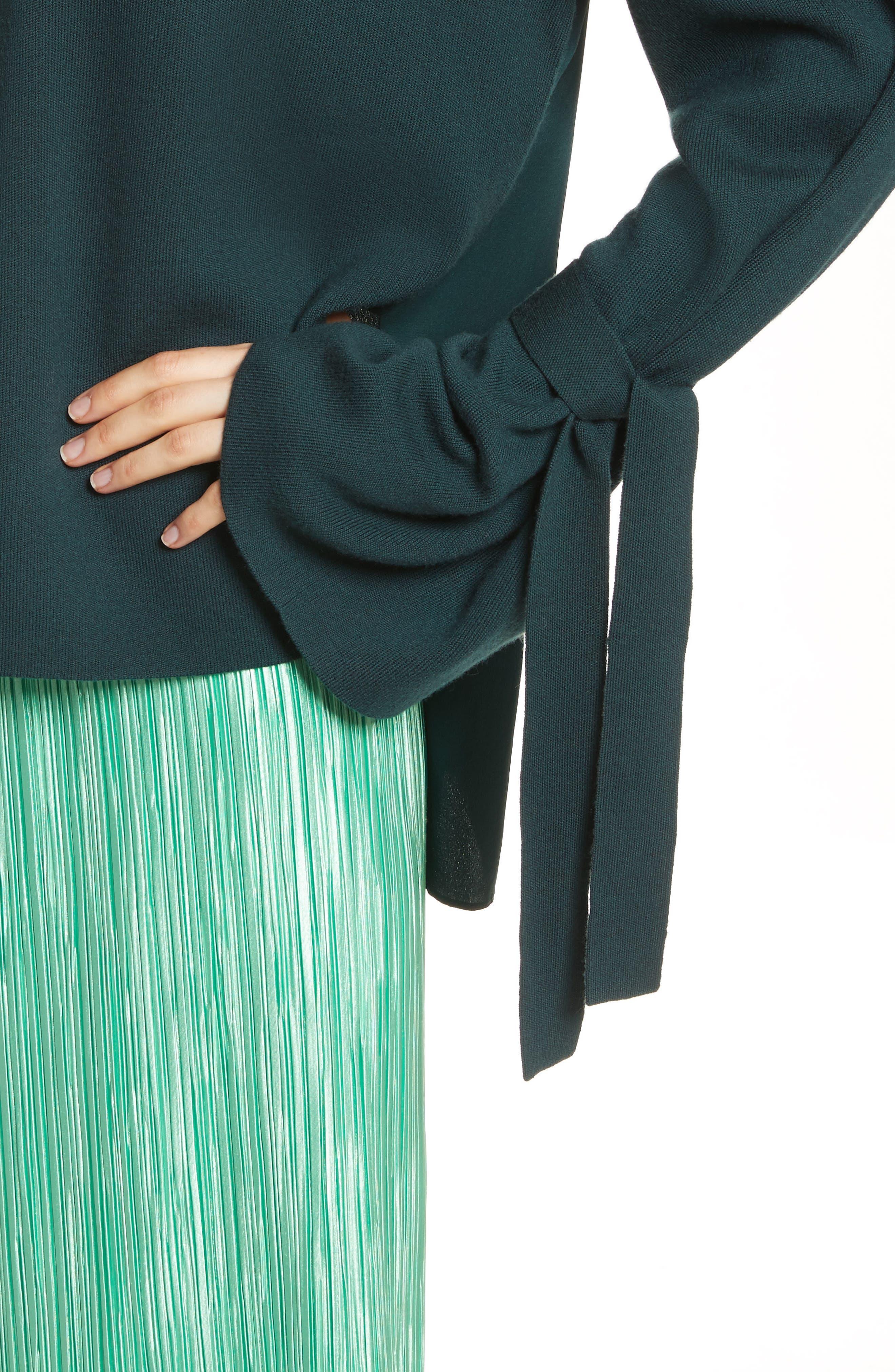 Merino Wool & Silk Bell Sleeve Pullover,                             Alternate thumbnail 4, color,                             Dark Green