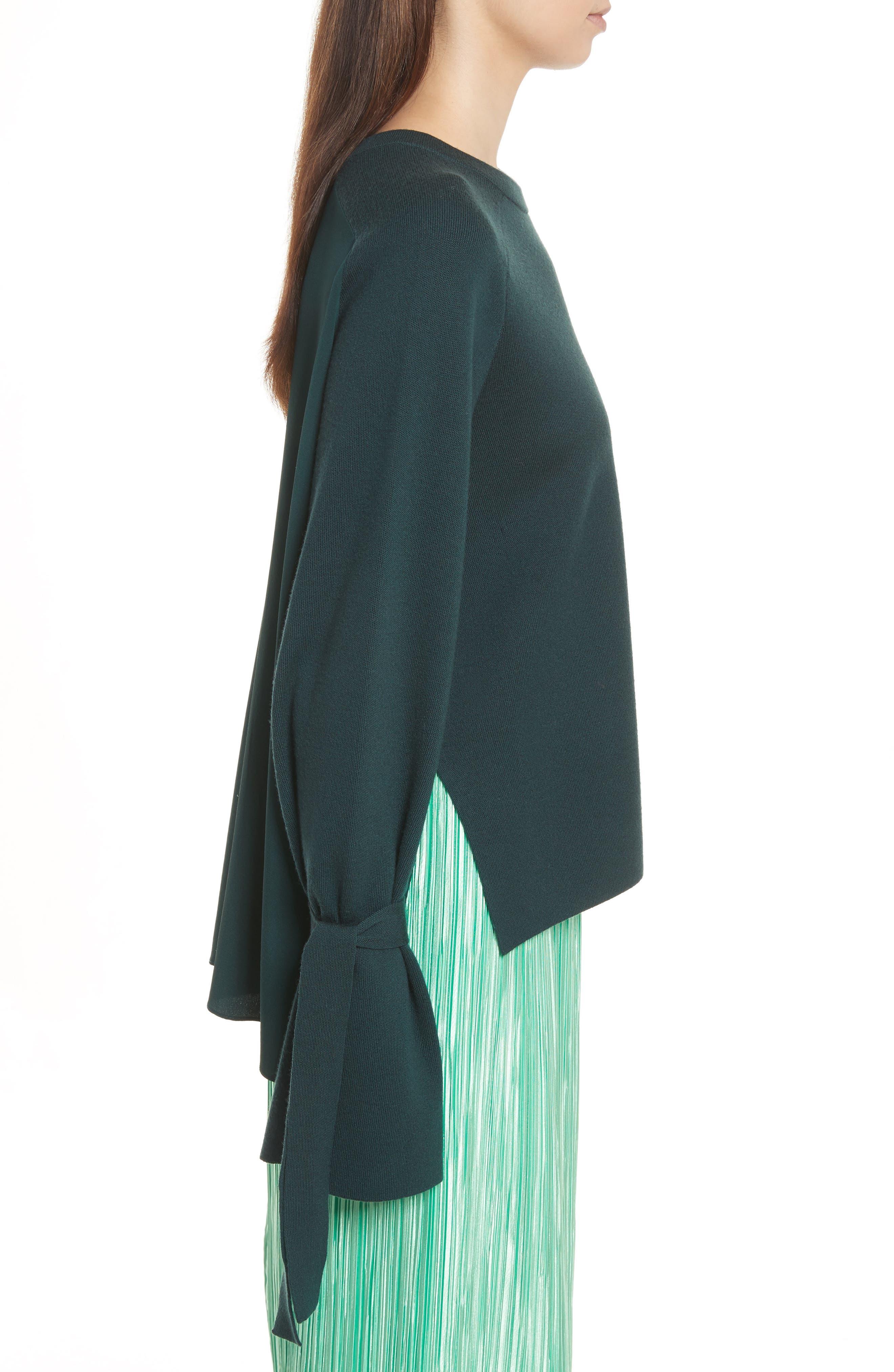 Merino Wool & Silk Bell Sleeve Pullover,                             Alternate thumbnail 3, color,                             Dark Green
