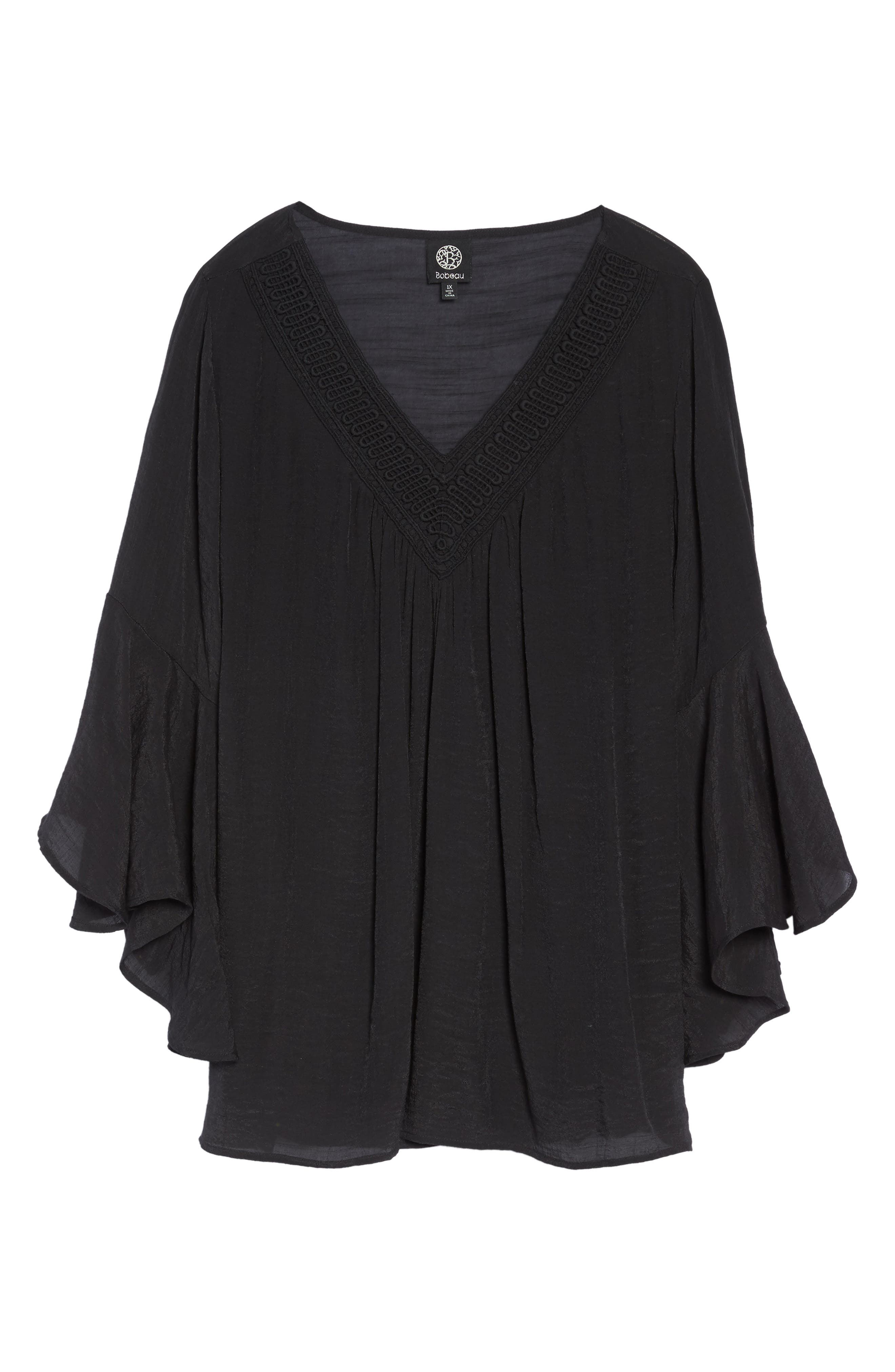 Bell Sleeve Peasant Blouse,                             Alternate thumbnail 6, color,                             Black