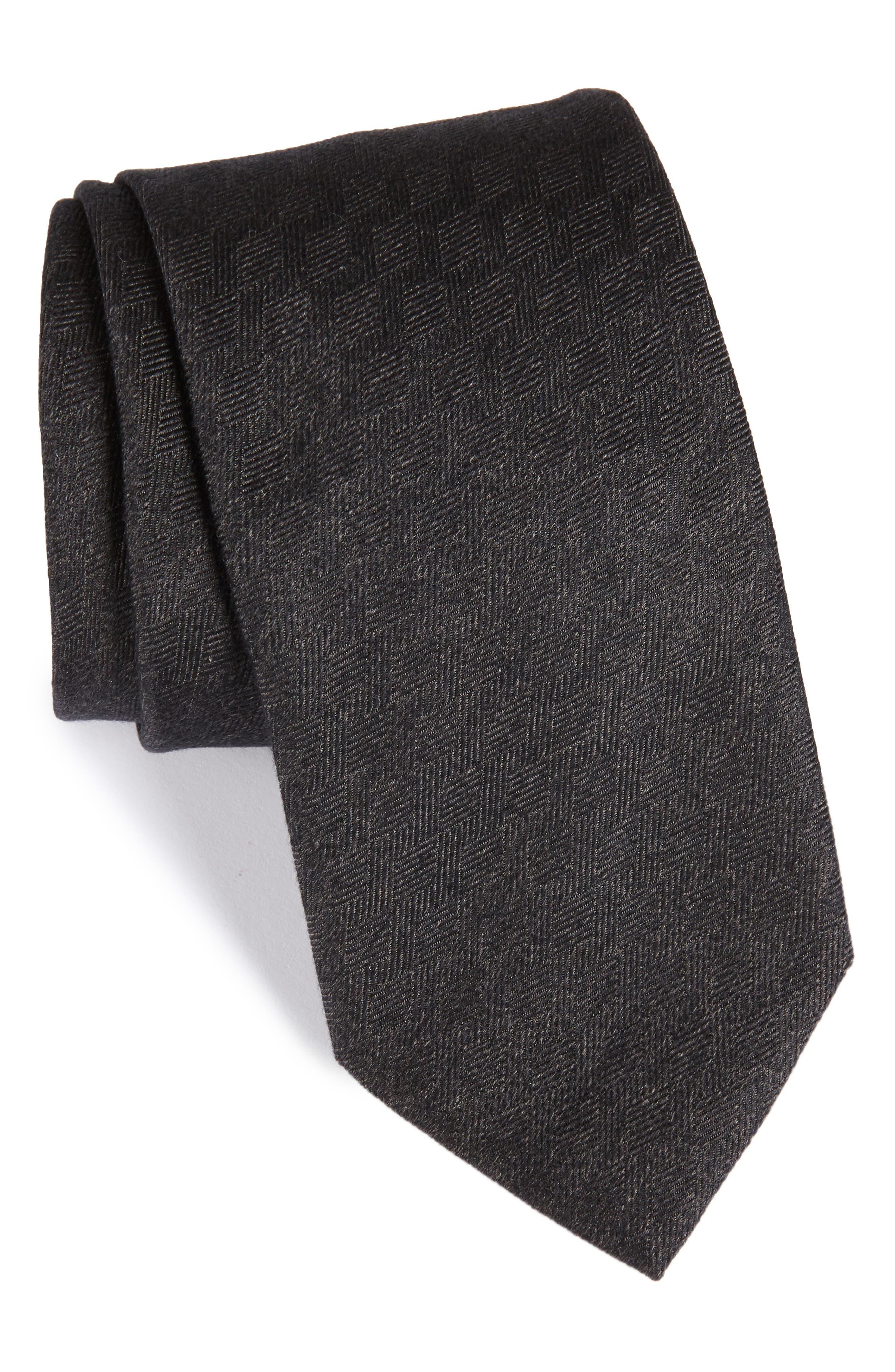 Solid Silk Tie,                         Main,                         color, Grey