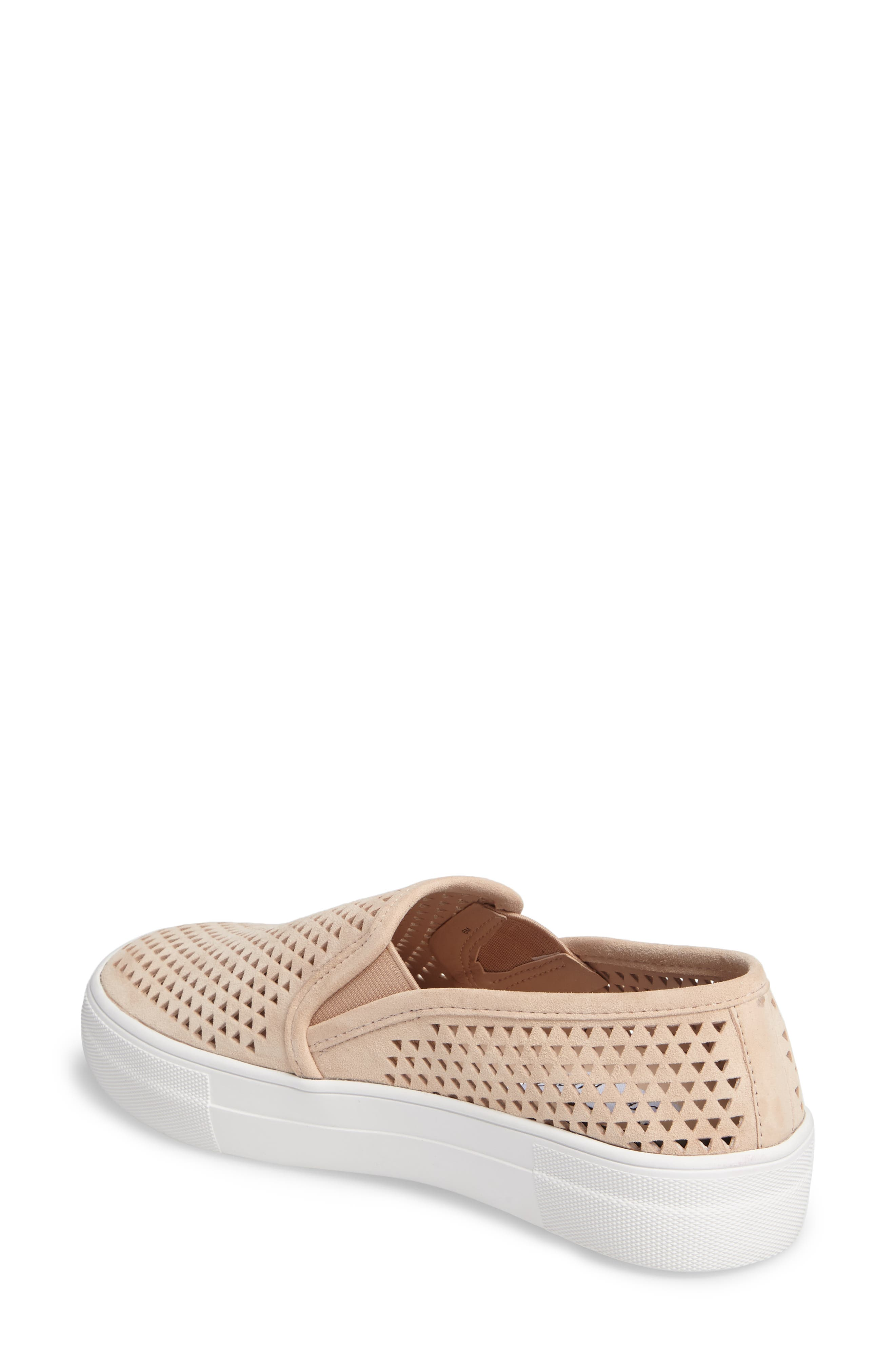 Gills Perforated Slip-On Sneaker,                             Alternate thumbnail 2, color,                             Natural Suede