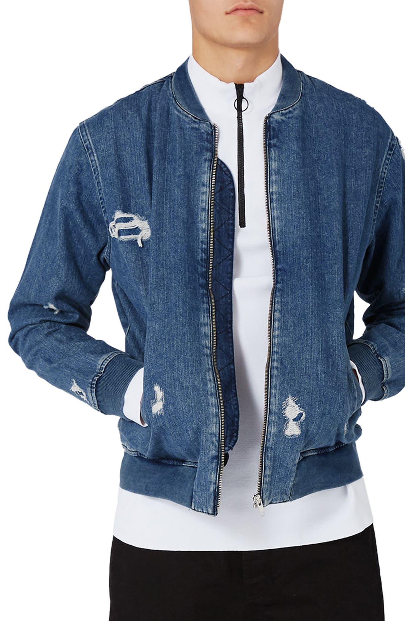 Distressed Denim Bomber Jacket,                         Main,                         color, Denim