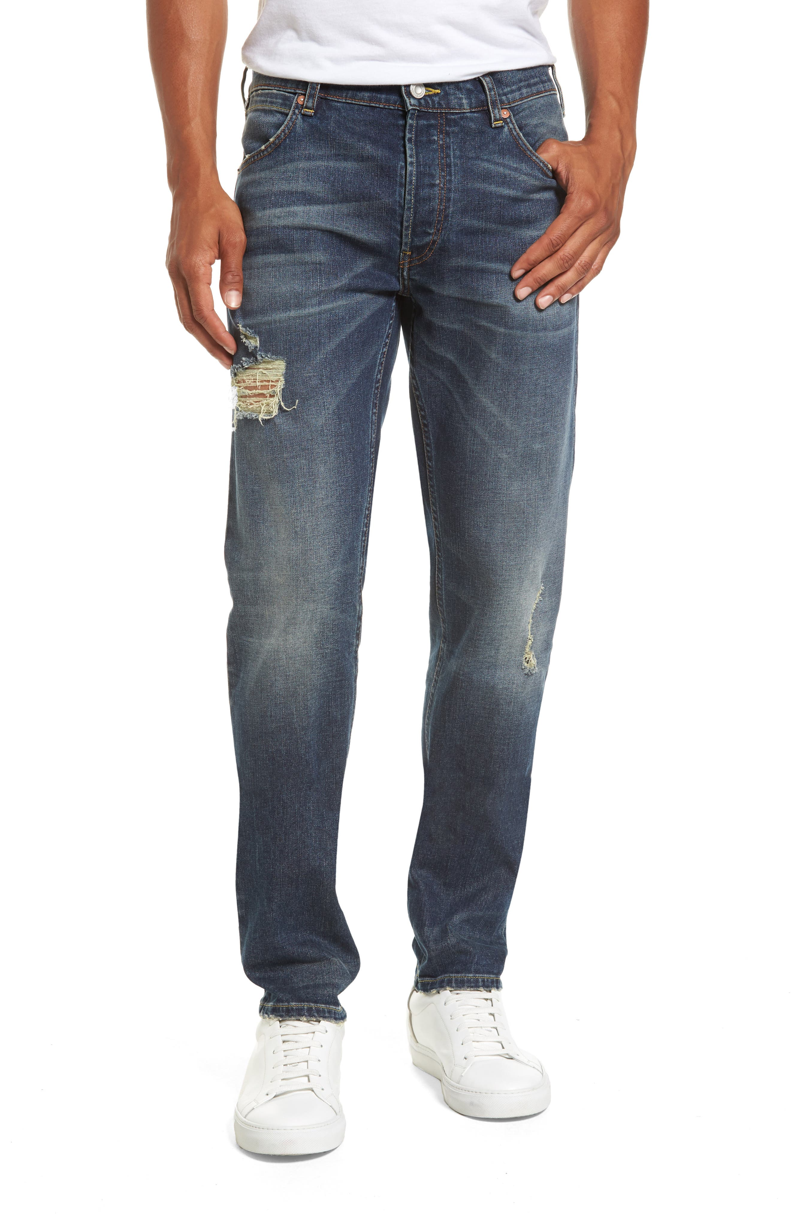 Main Image - French Connection Slim Fit Distressed Jeans (Vintage & Holes)