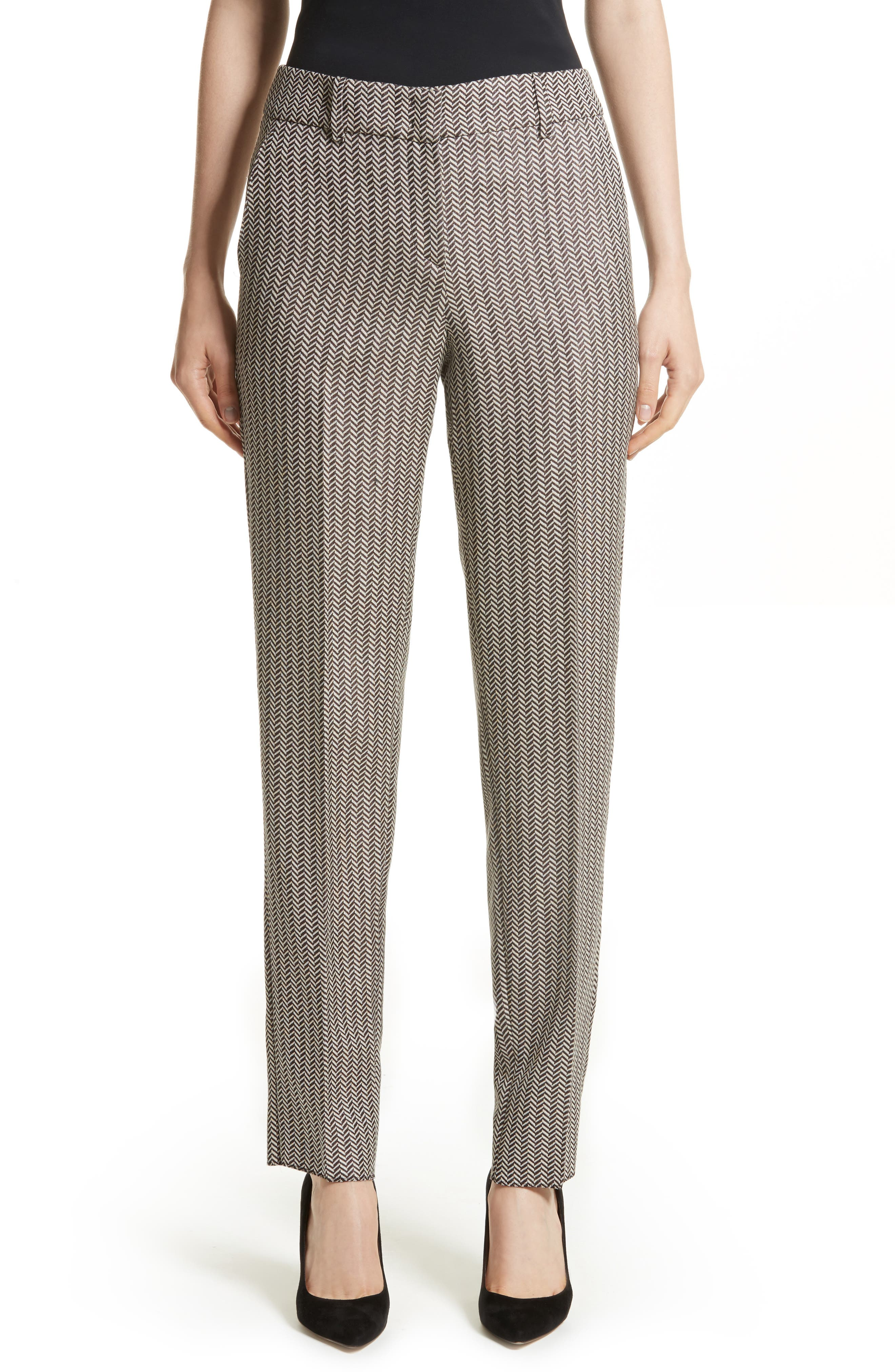 Alternate Image 1 Selected - Armani Collezioni Herringbone Slim Pants
