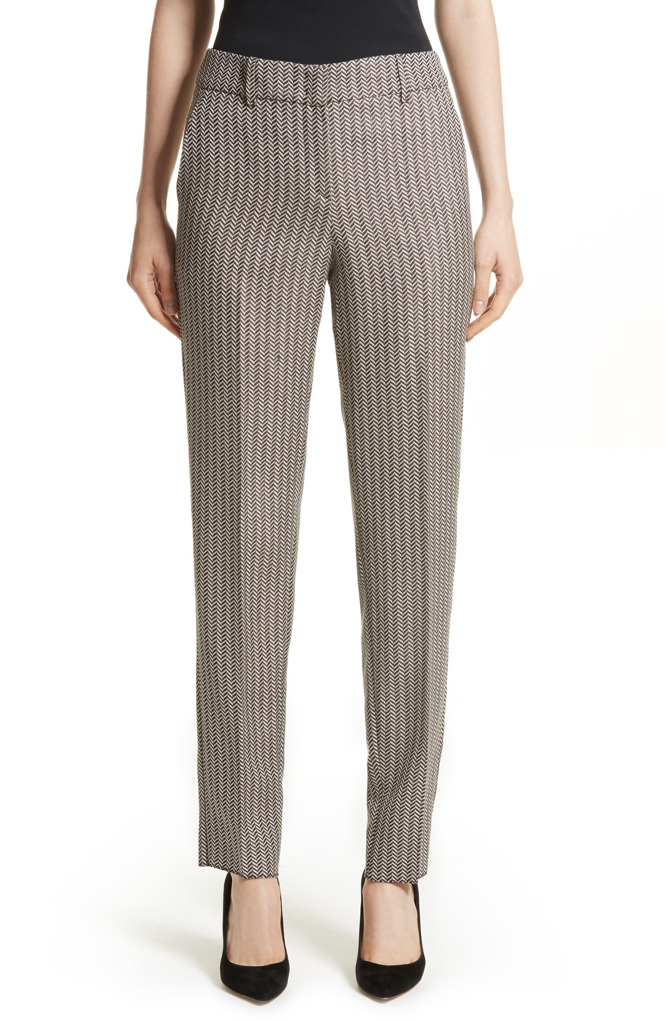 Armani Collezioni Herringbone Slim Pants