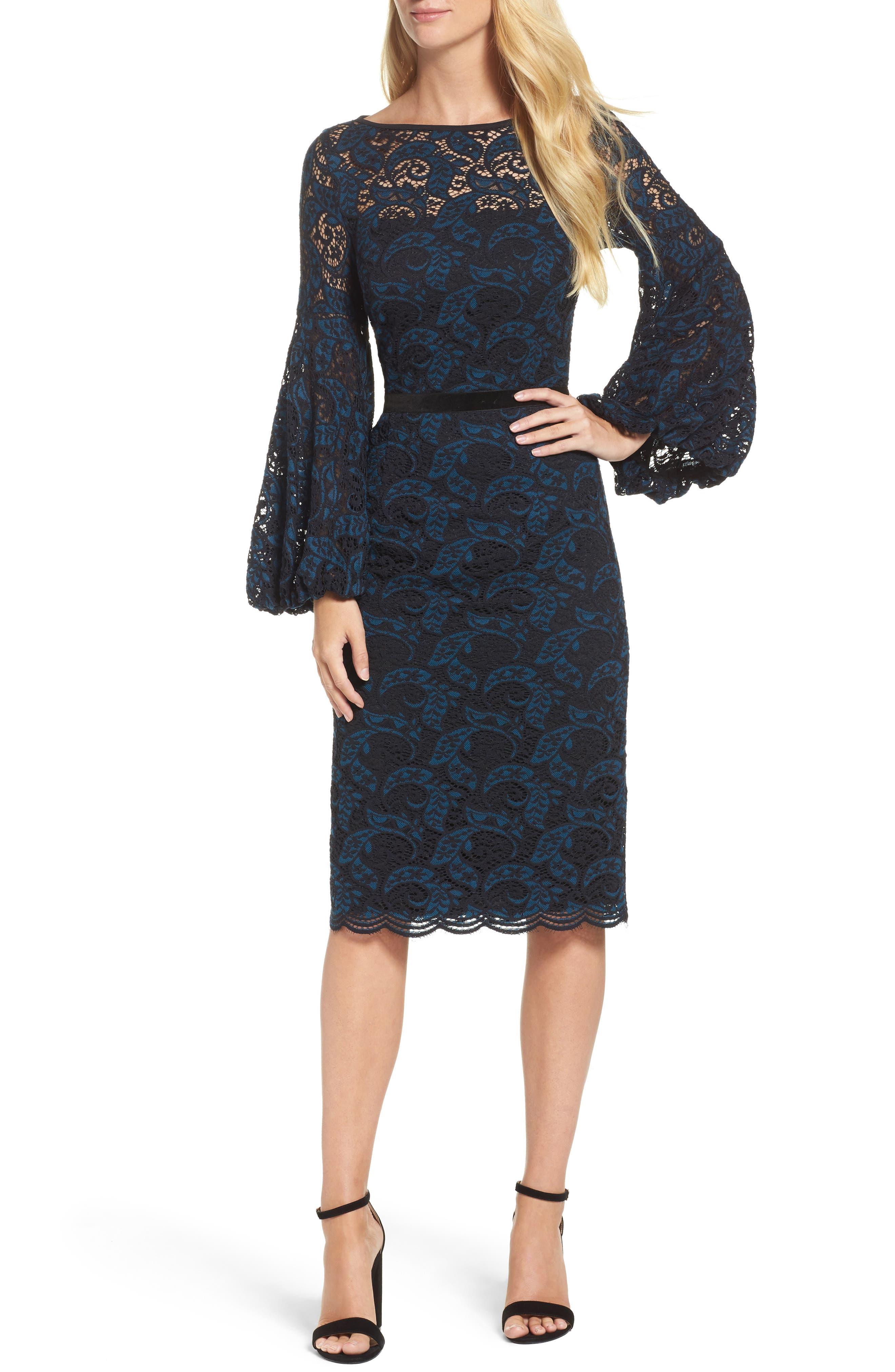 Lace Bishop Sleeve Dress,                         Main,                         color, Blue/ Black