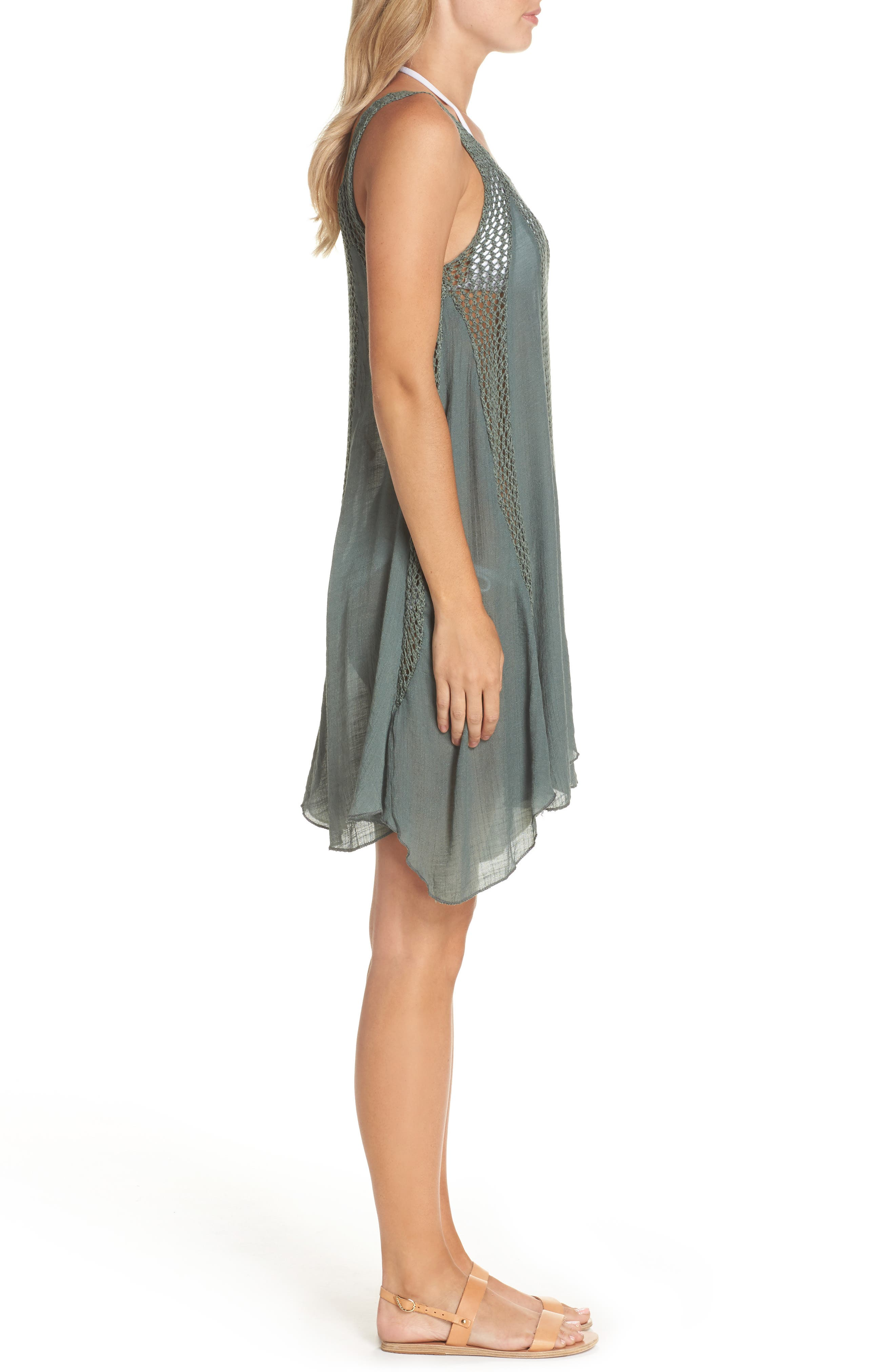 Crochet Inset Cover-Up Dress,                             Alternate thumbnail 3, color,                             Olive