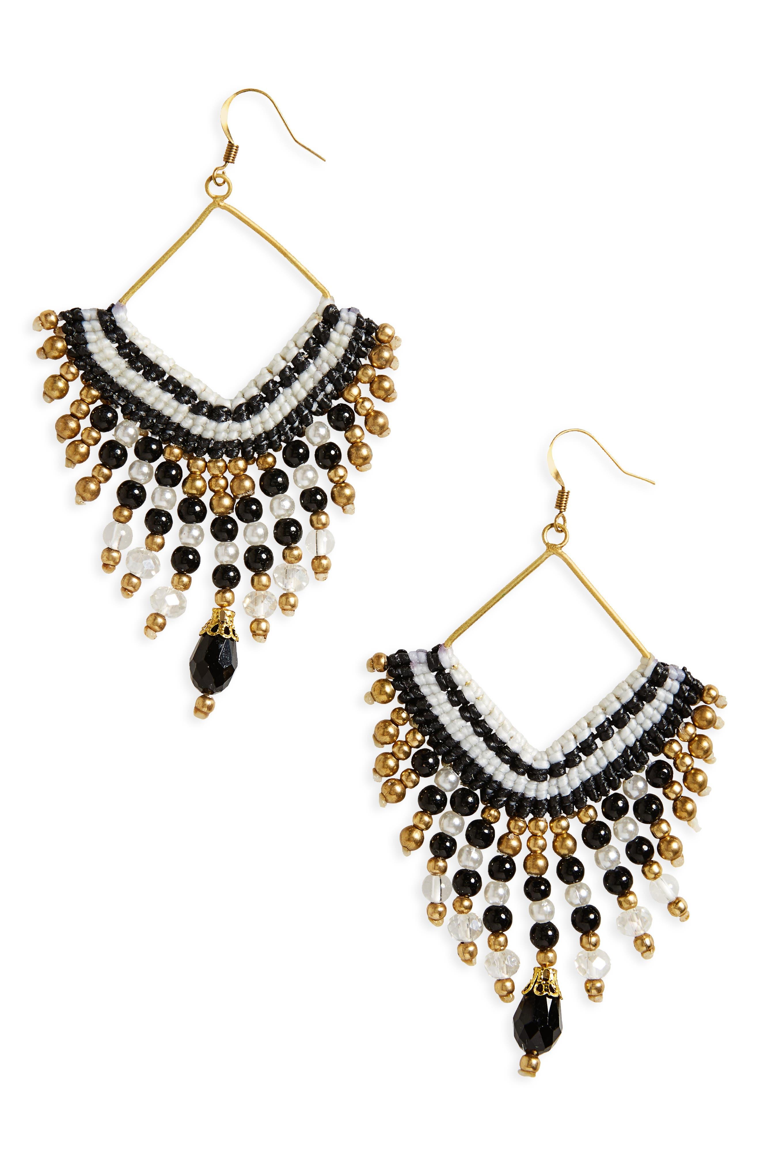 PANACEA Beaded Fringe Earrings