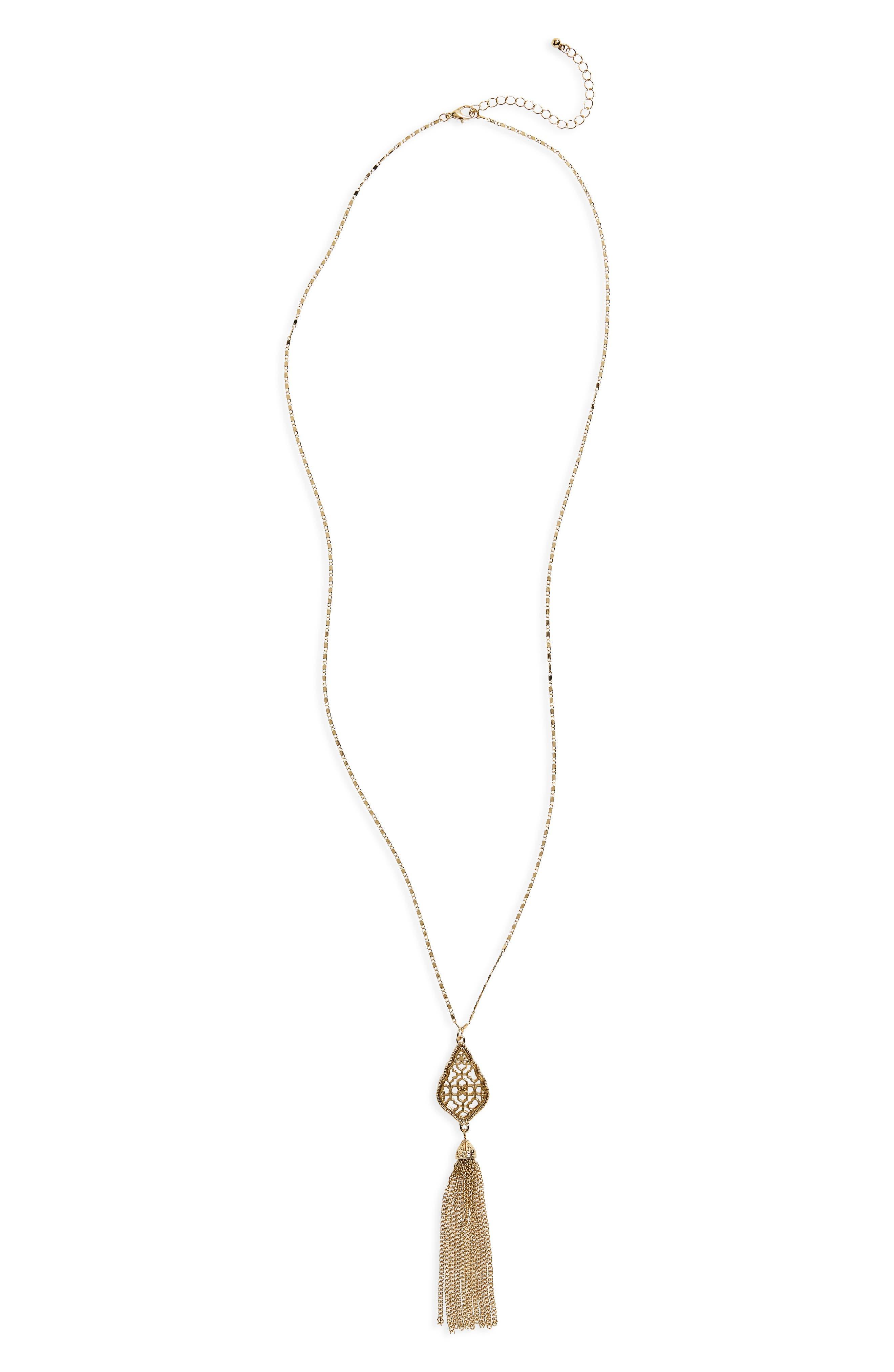 Chain Tassel Pendant Necklace,                         Main,                         color, Gold