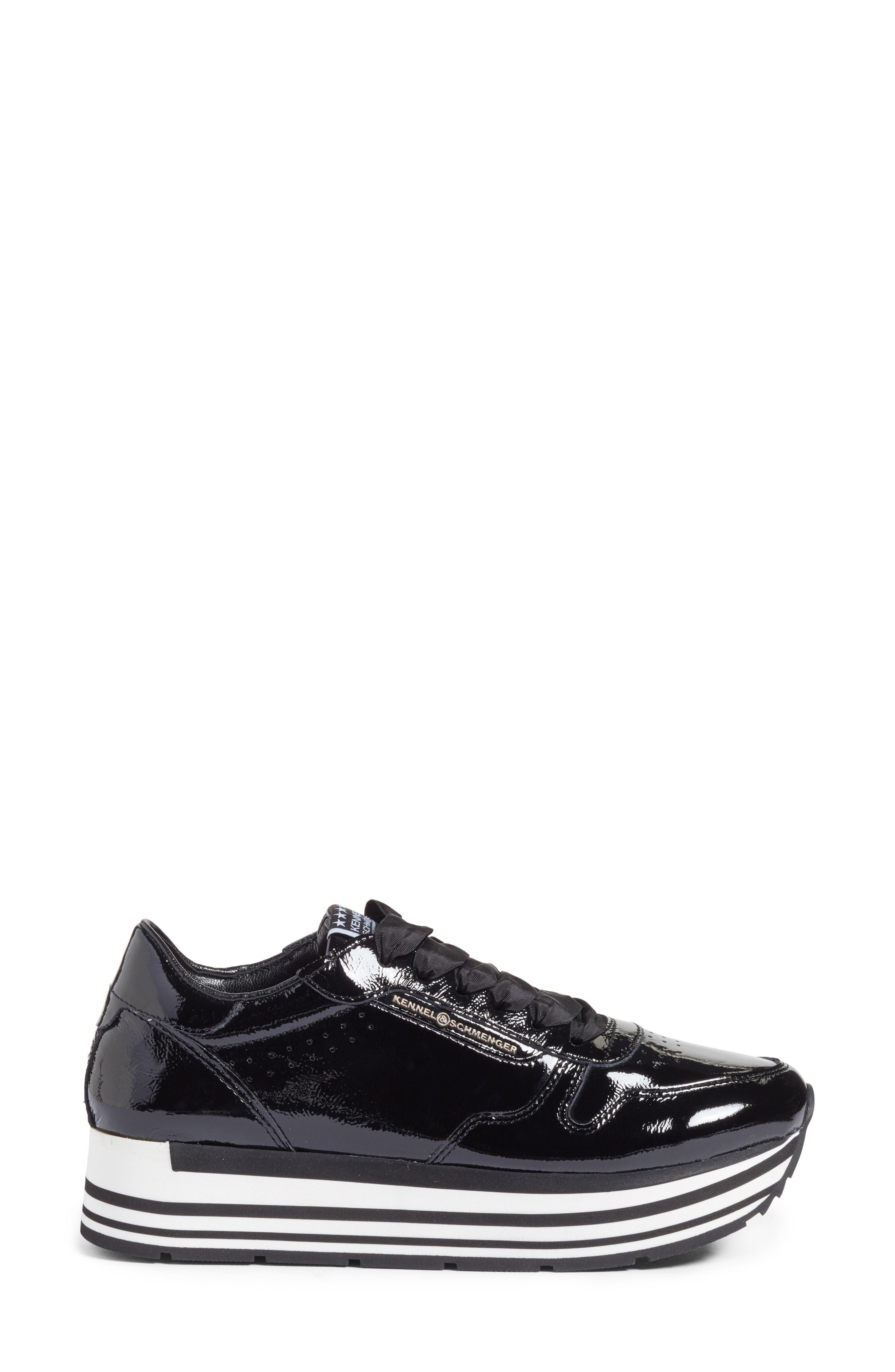 Kennel & Schmenger Nova Patent Leather Sneaker,                             Alternate thumbnail 3, color,                             Black