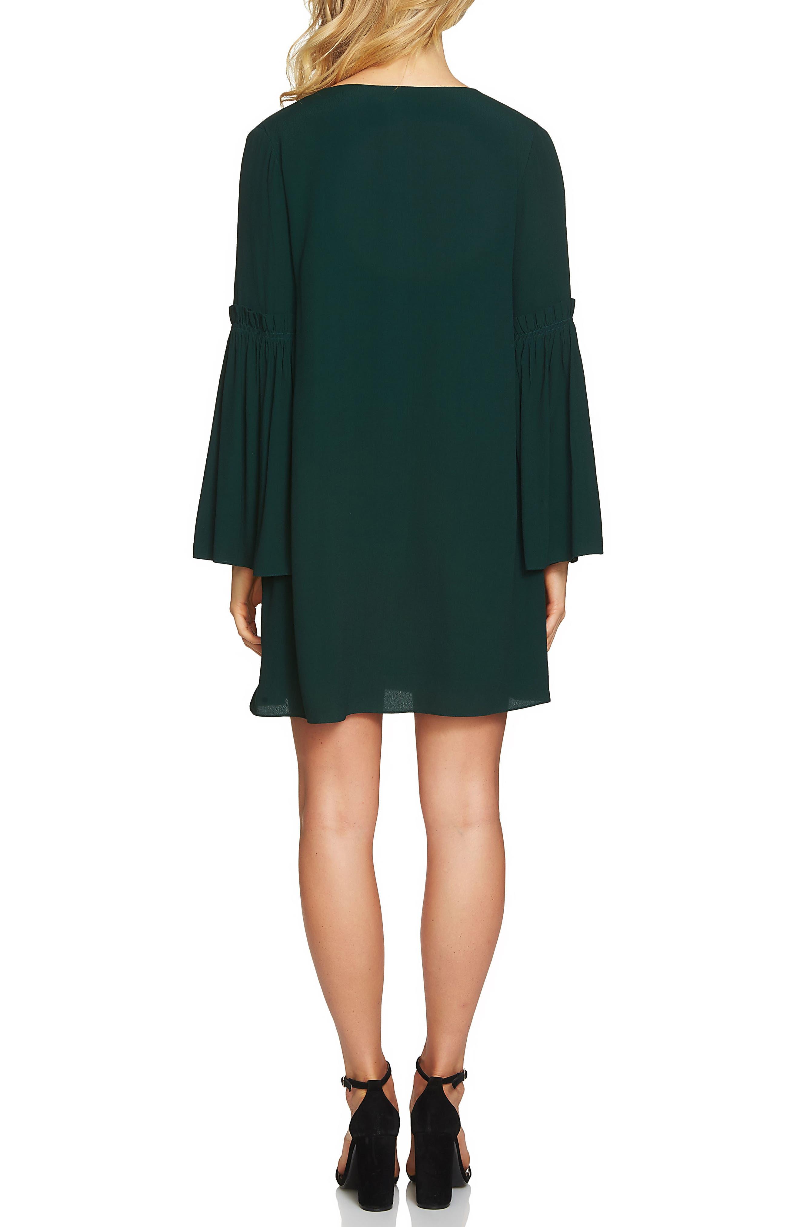 Bell Sleeve Swing Dress,                             Alternate thumbnail 2, color,                             Jasper Green