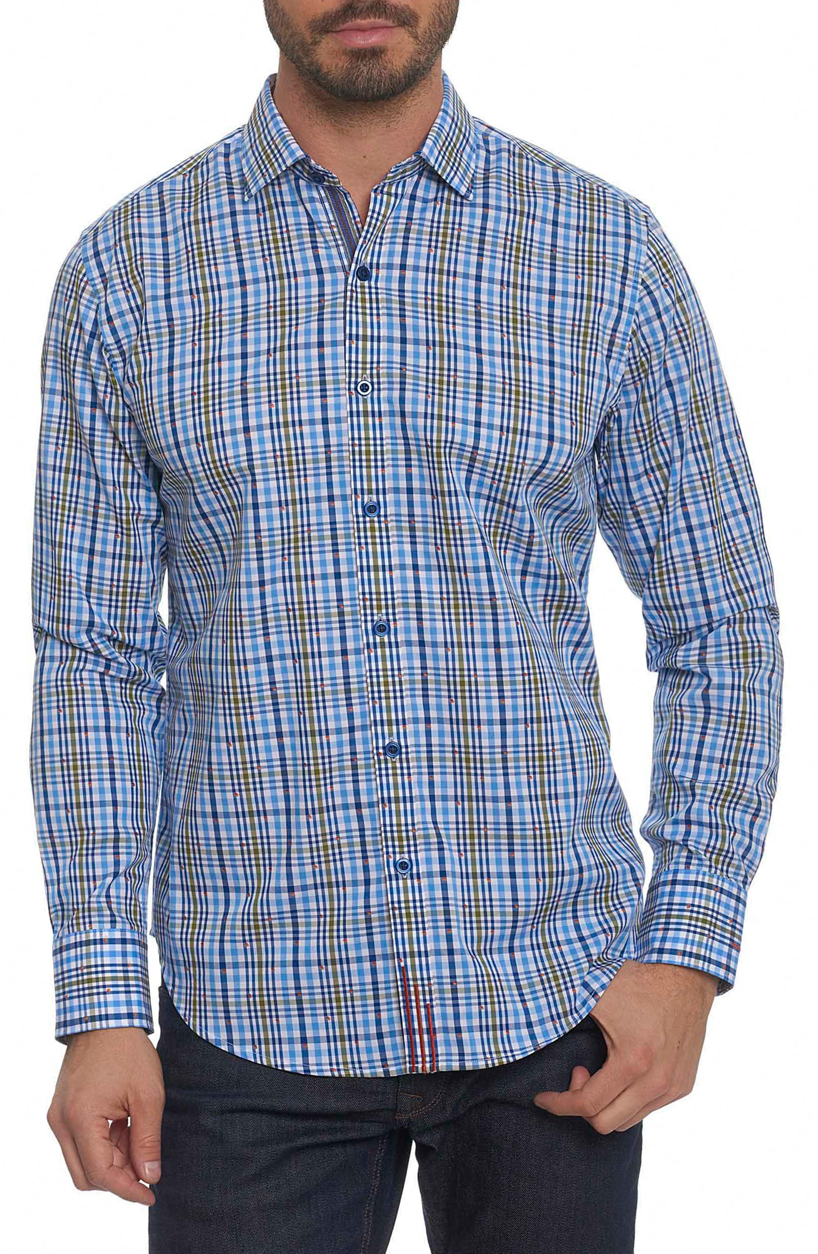 Cape Vincent Classic Fit Dobby Check Sport Shirt,                             Main thumbnail 1, color,                             Blue