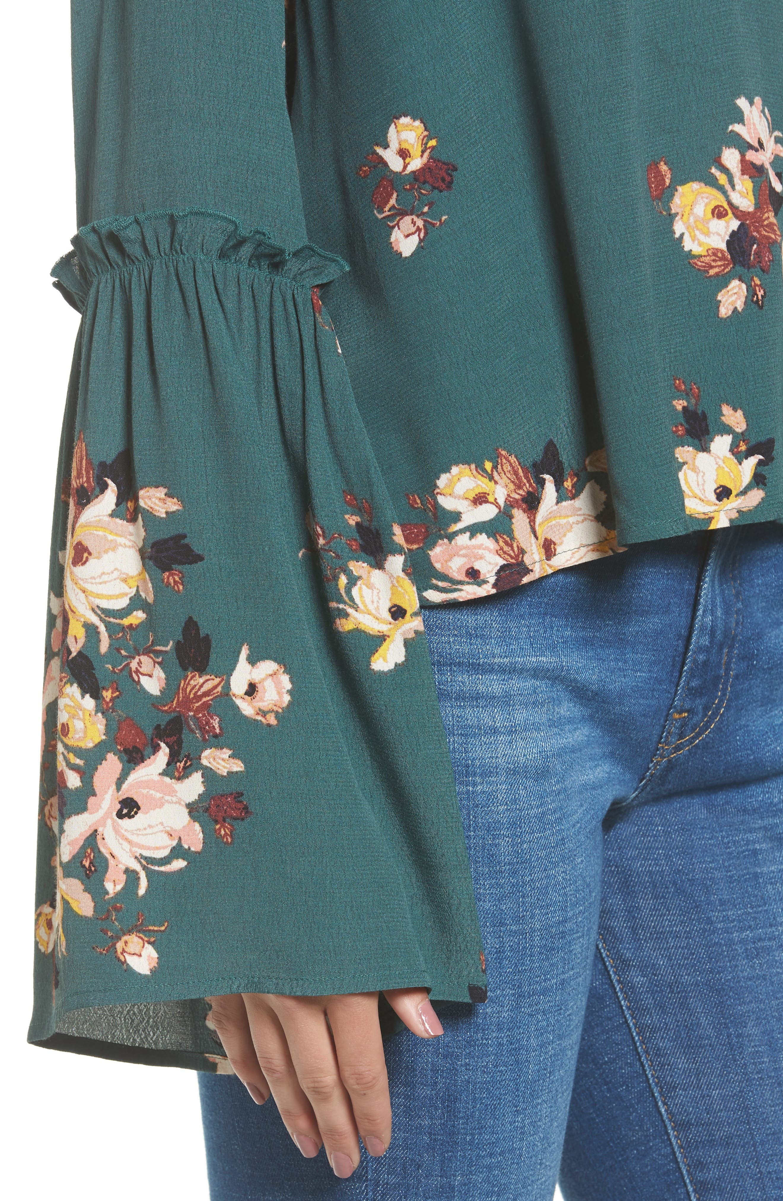 Bell Sleeve Blouse,                             Alternate thumbnail 4, color,                             Green Jungle Floral Bouquet