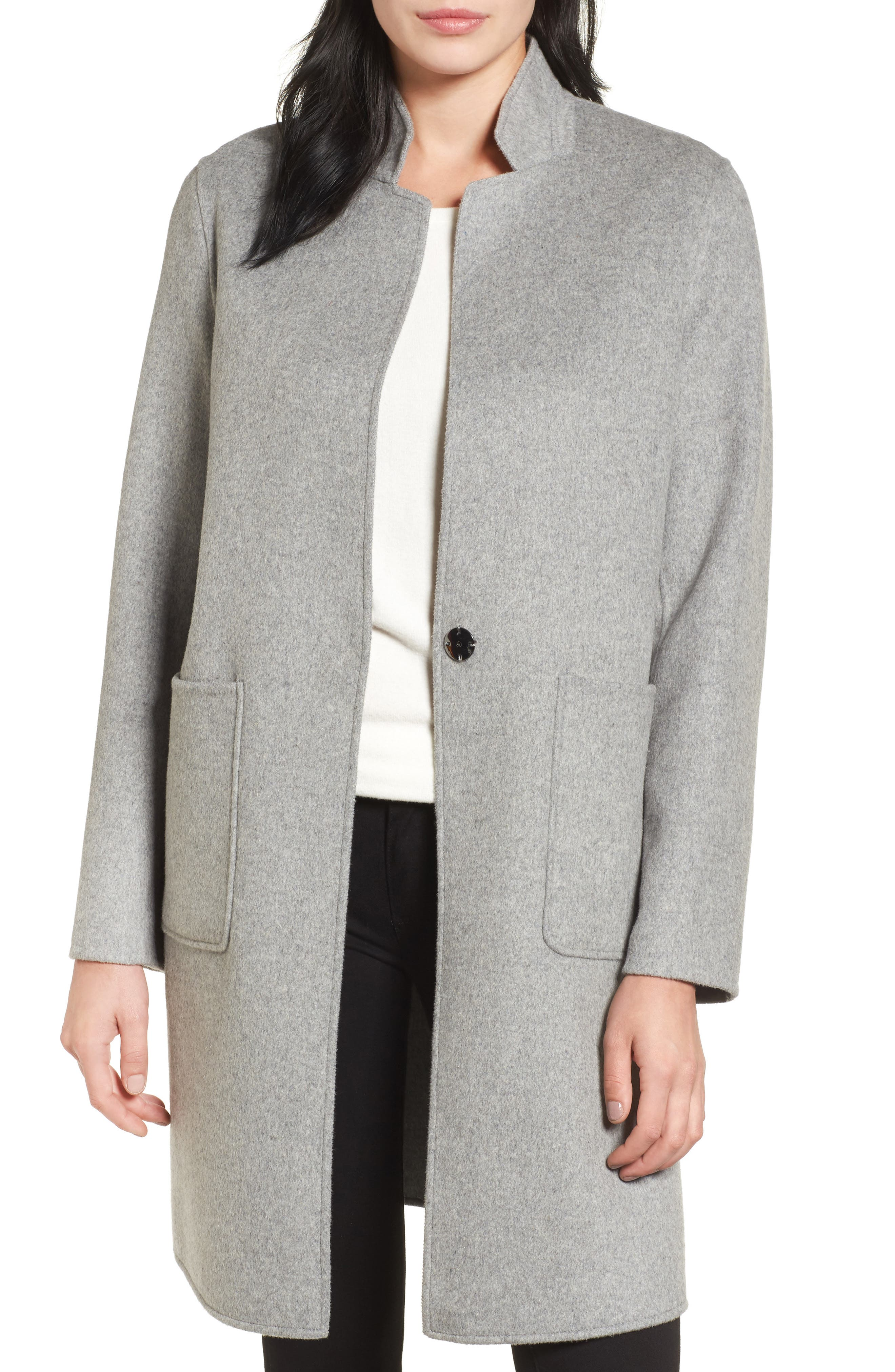 Double Face Wool Blend Coat,                             Main thumbnail 1, color,                             Light Grey