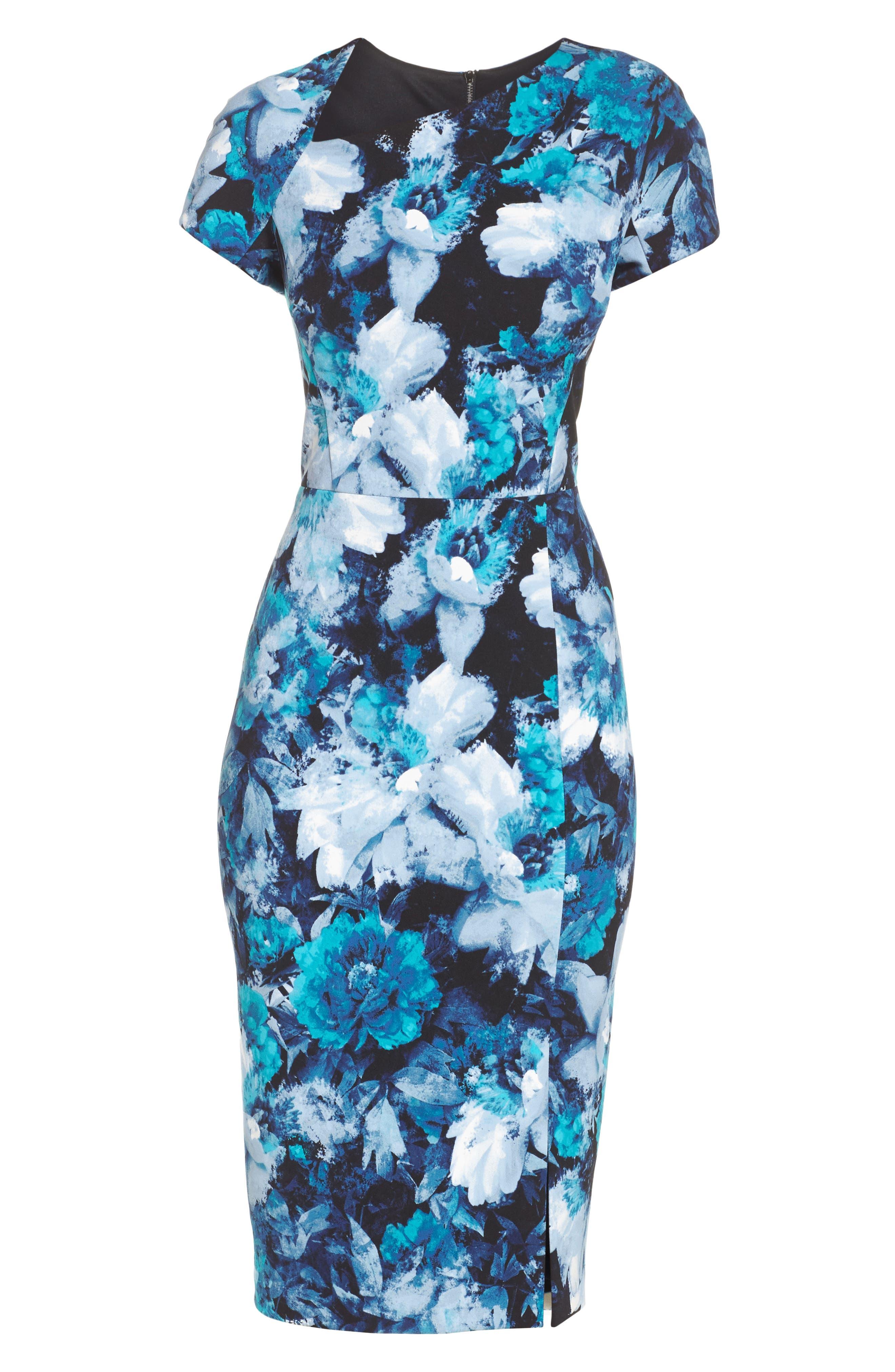 Asymmetrical Sheath Dress,                             Alternate thumbnail 6, color,                             Black/ Blue