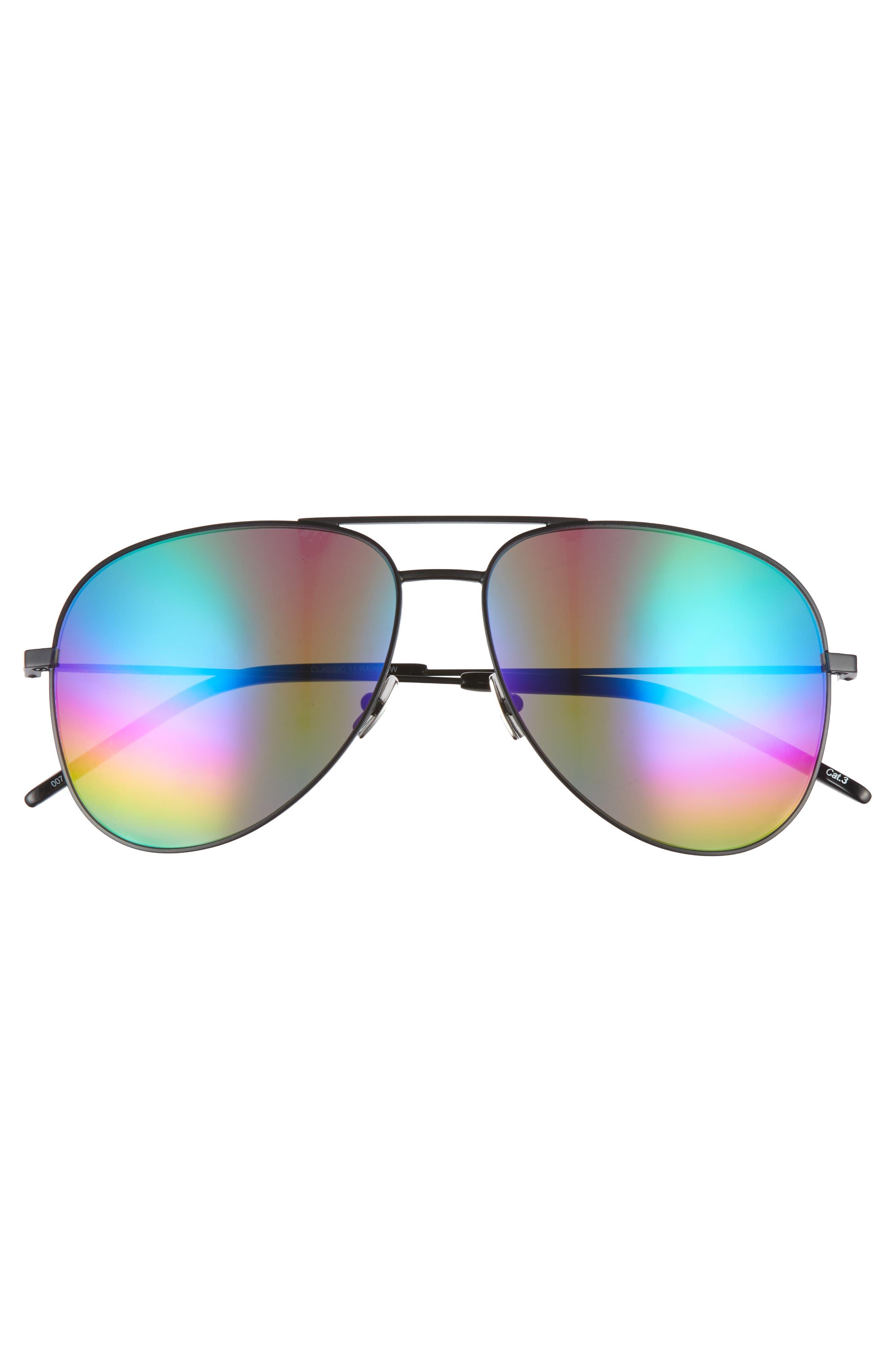 Classic 59mm Aviator Sunglasses,                             Alternate thumbnail 3, color,                             Black/ Multi